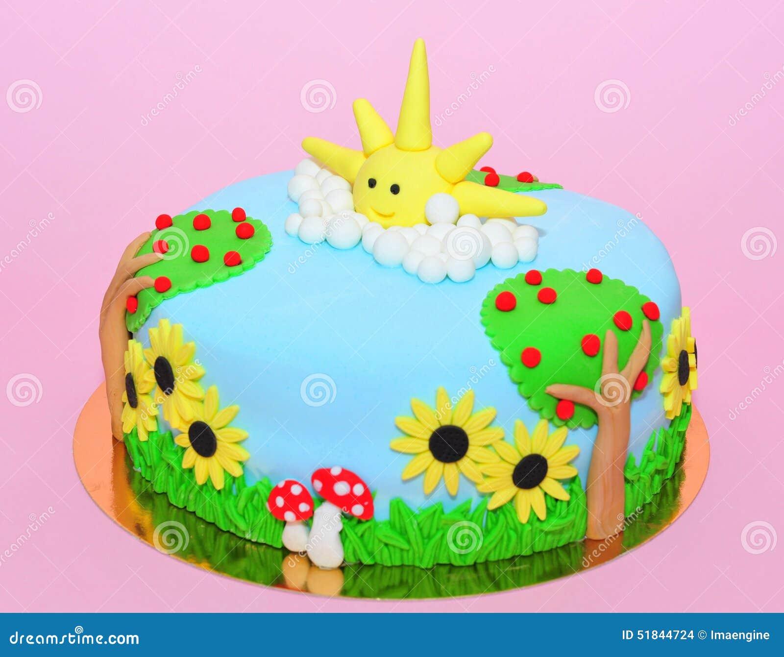 Summer Time Theme Fondant Cake Stock Photo Image 51844724