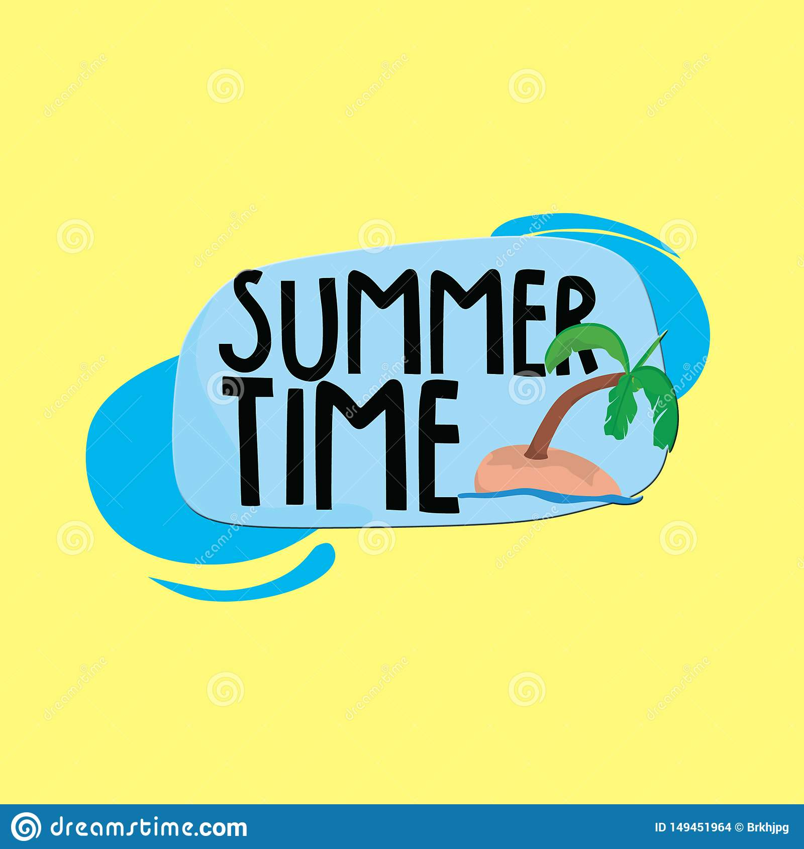 Summer time title with coconut trees and yellow background