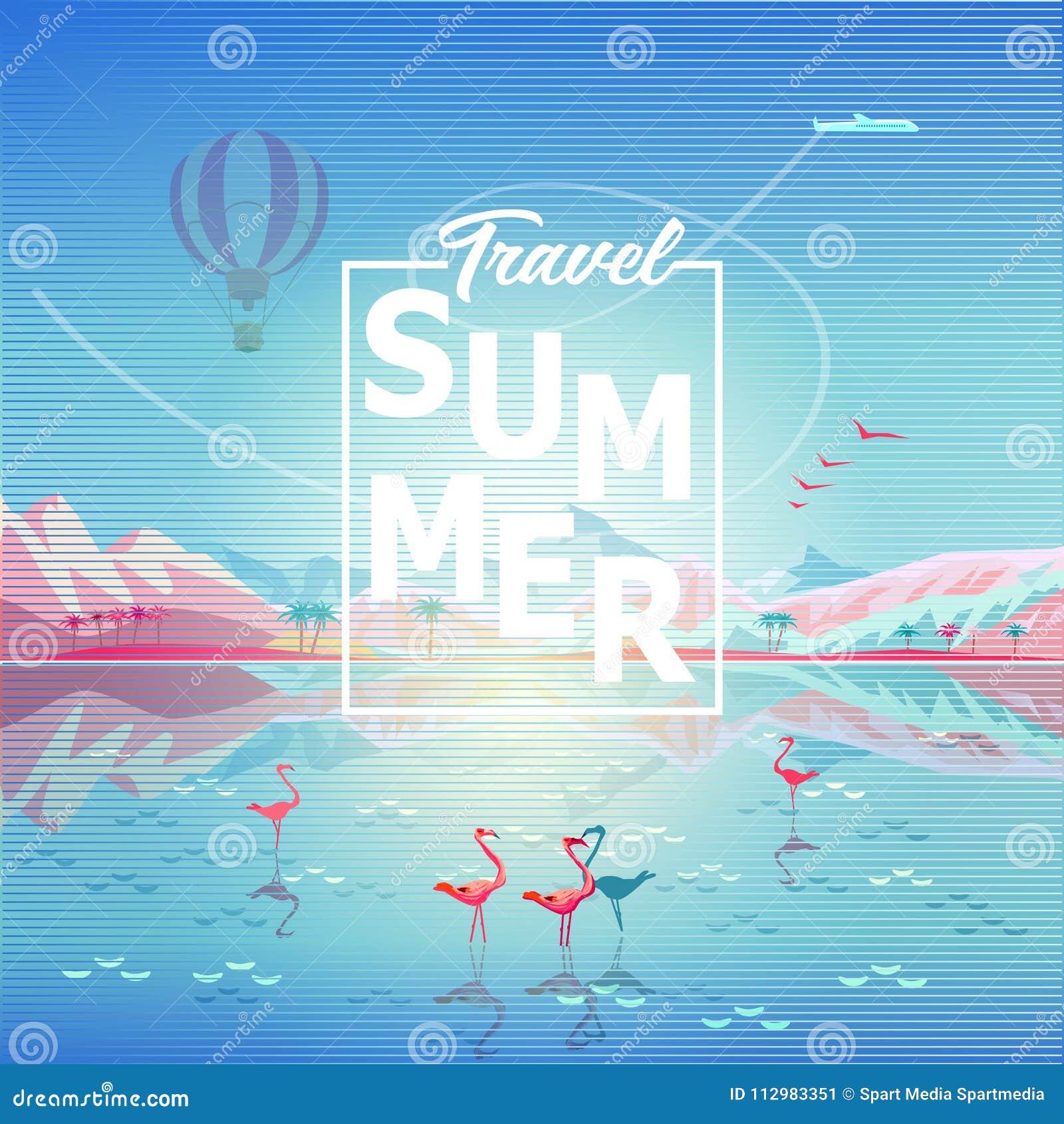 Summer Travel adventure rocky mountains reflection tropical sea beach flamingo