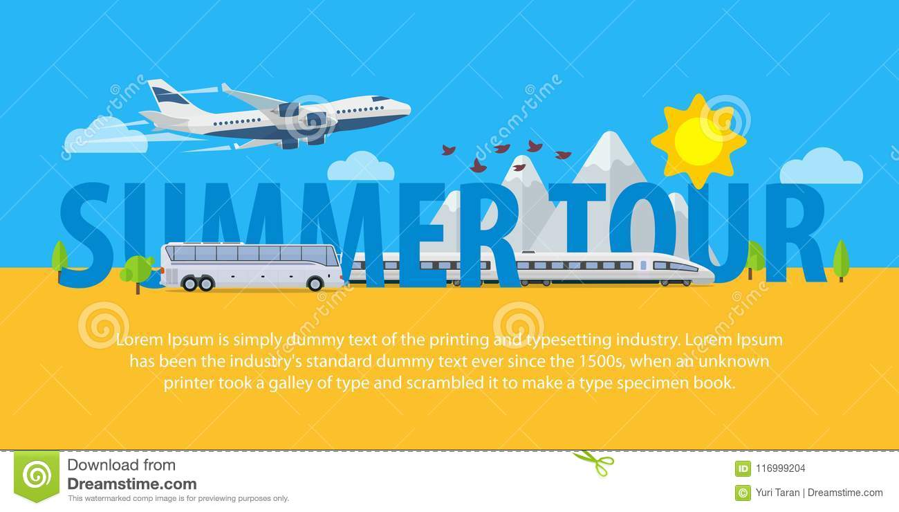 summer travel banners in flat style traveling in time of vacation