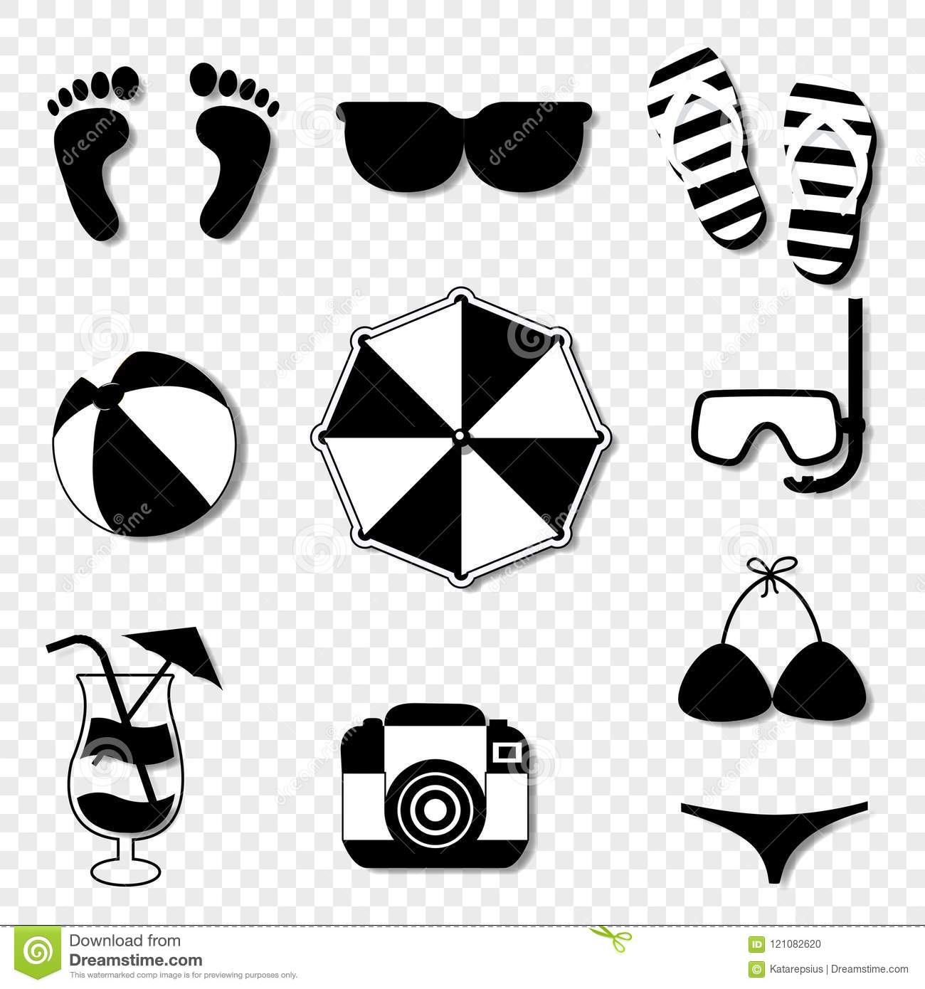 summer travel beach icon set isolated on transparent background stock vector illustration of camera pictogram 121082620 https www dreamstime com summer travel beach icon set isolated transparent background vector black white silhouette illustration summer travel image121082620