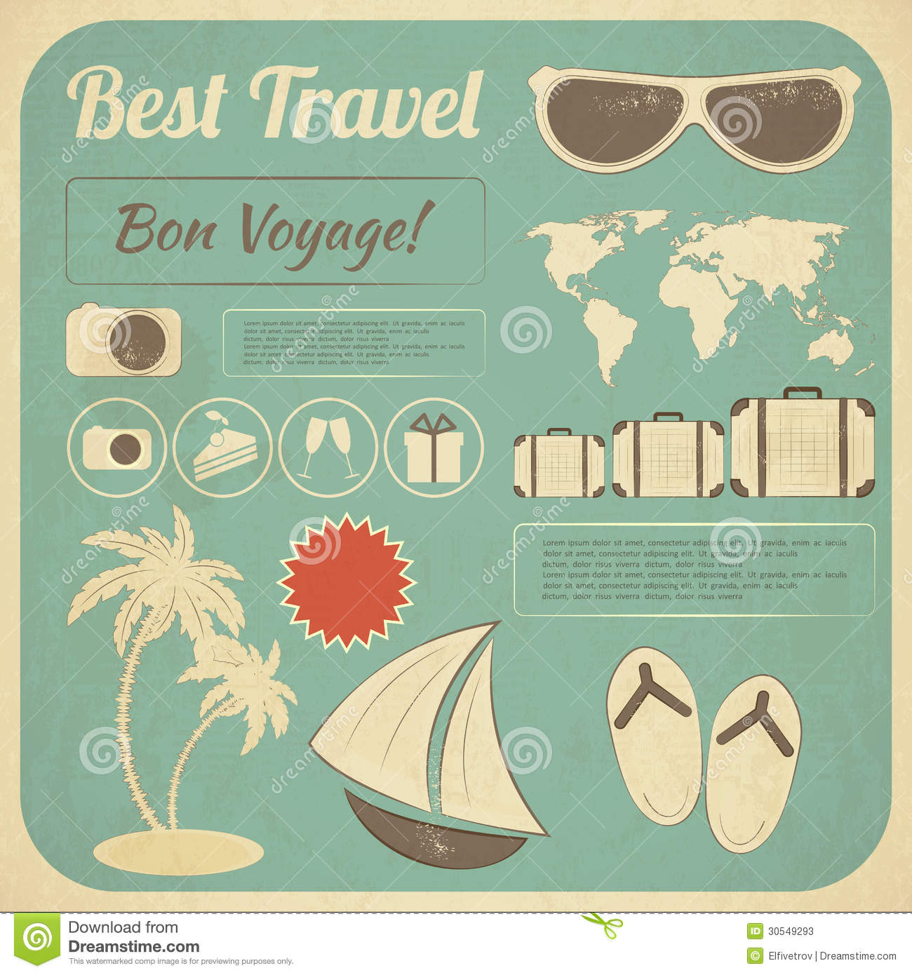 Classic Retro Illustration: Summer Travel Card In Retro Style Stock Photos