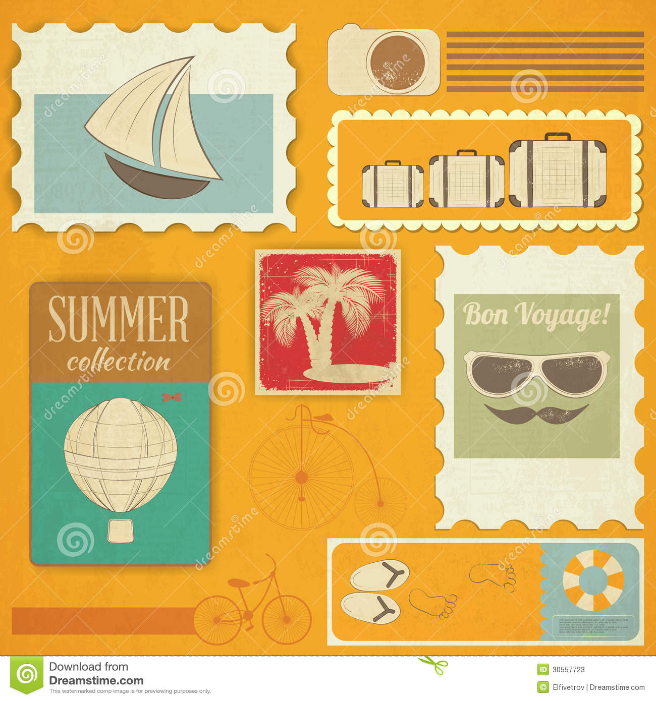 Summer travel card in retro style vintage vacation postcard with - Summer Travel Card In Vintage Style Stock Photos Image