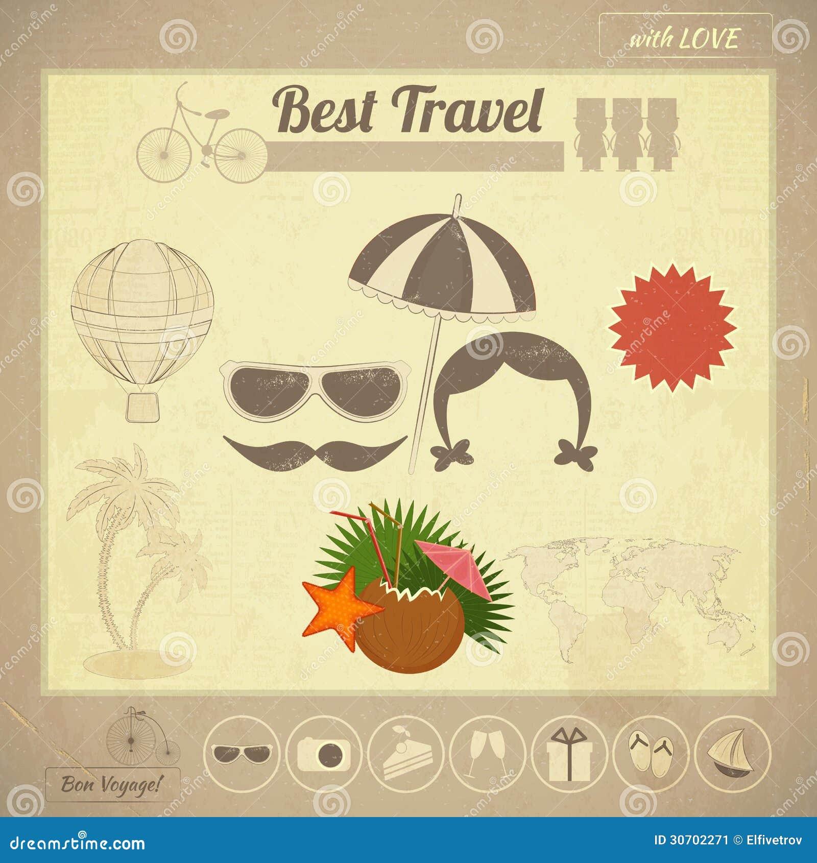 Summer travel card in vintage style stock vector image for Vintage stuhle gunstig