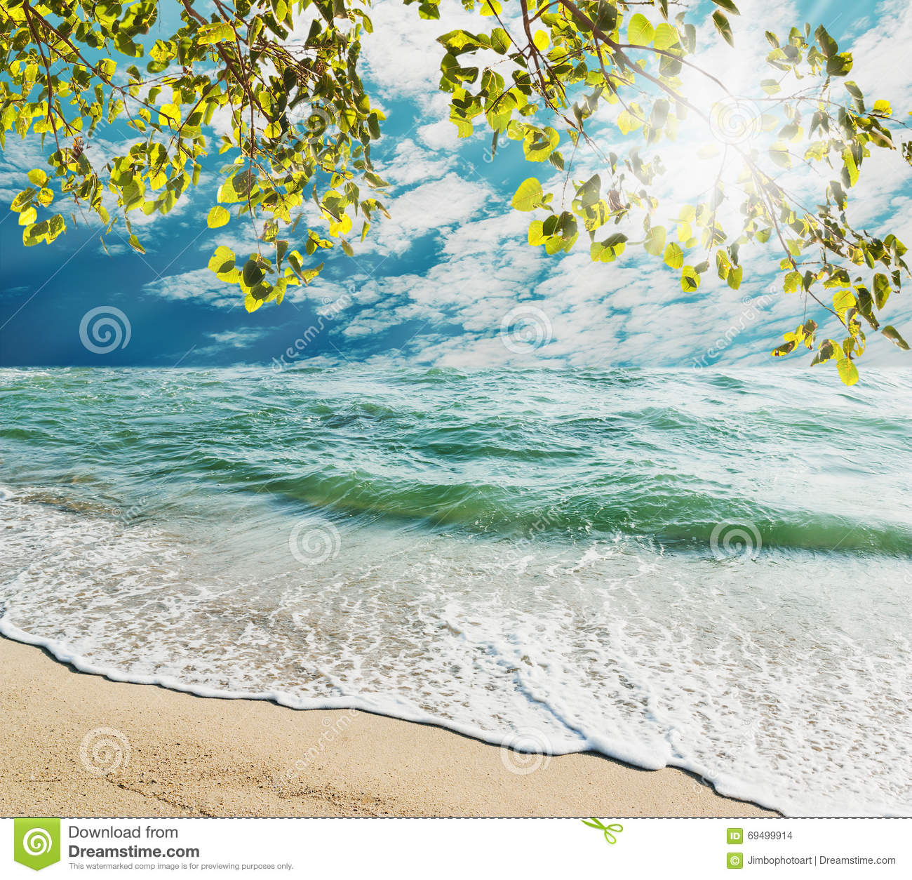 Sand Beach In Summer Sky Background: Summer And Travel Concept Stock Photo