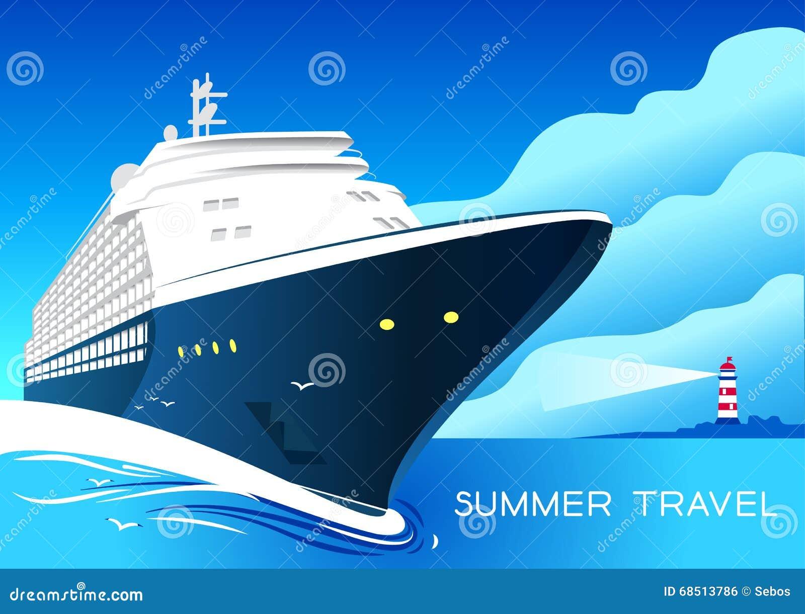 Summer Travel Cruise Ship Vintage Art Deco Poster