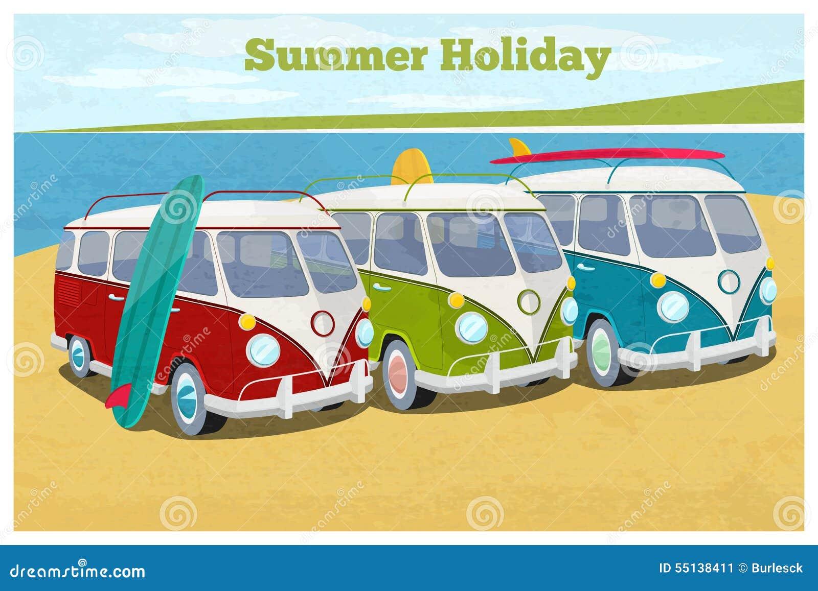 Summer Travel Design With Camper Van Transportation And Vacation Retro Bus Vector Illustration