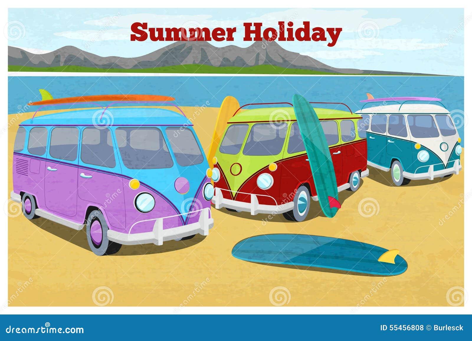 Summer Travel Design With Surfing Camper Van