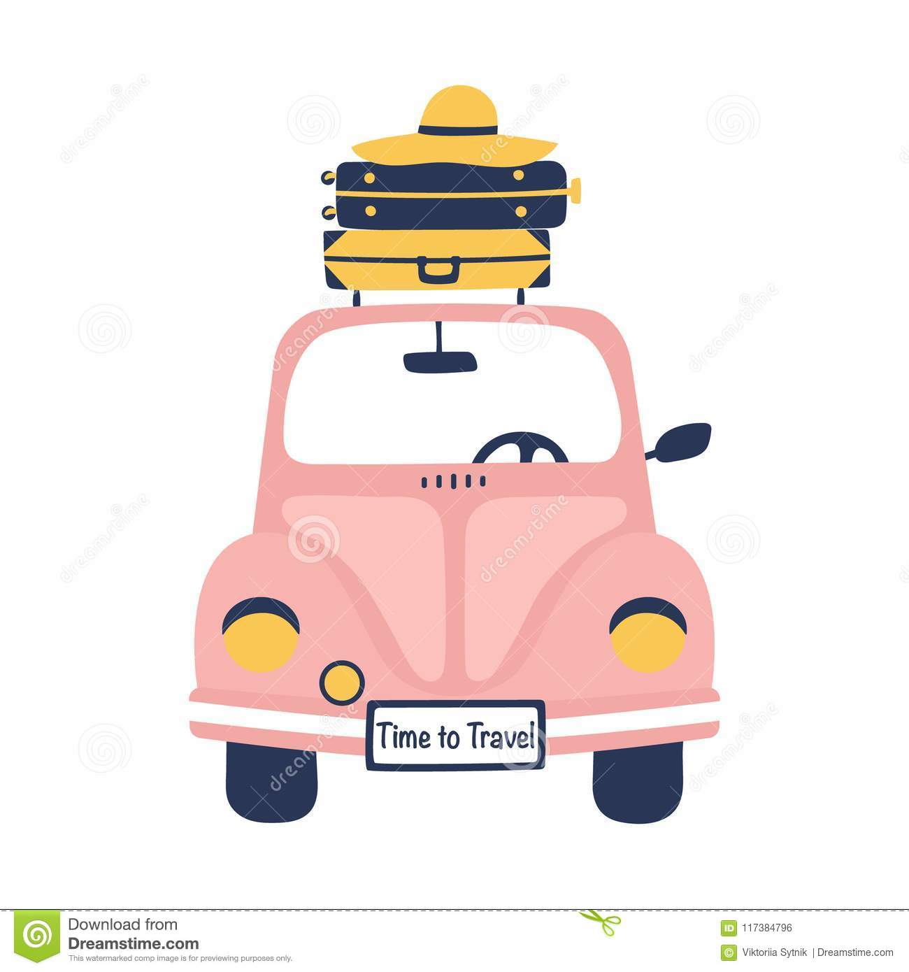 Summer travel illustration with cute retro car and suitcases.