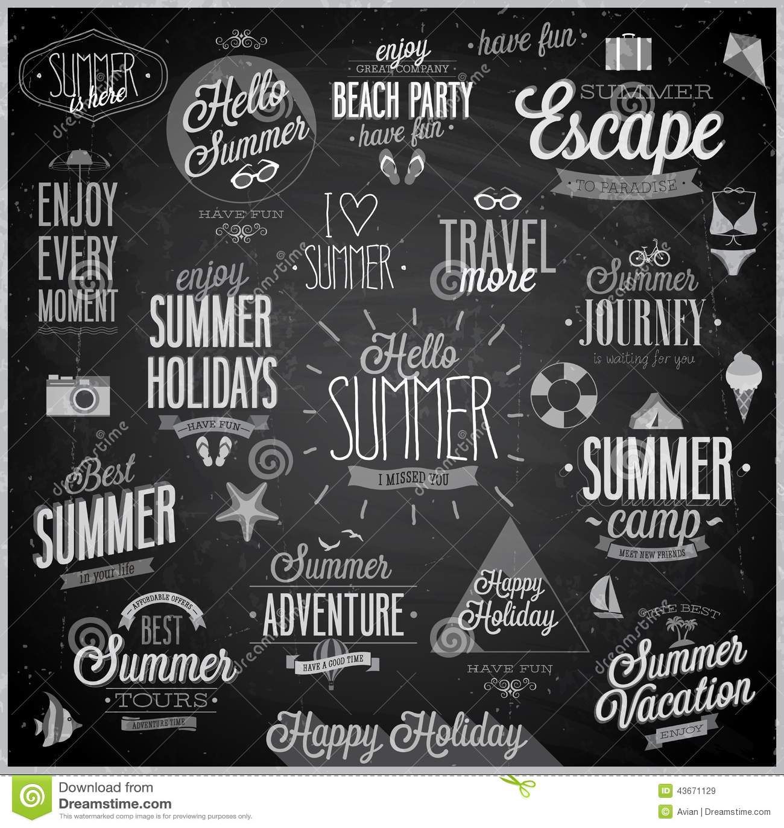 Summer And Travel Set Labels And Emblems Chalkboard