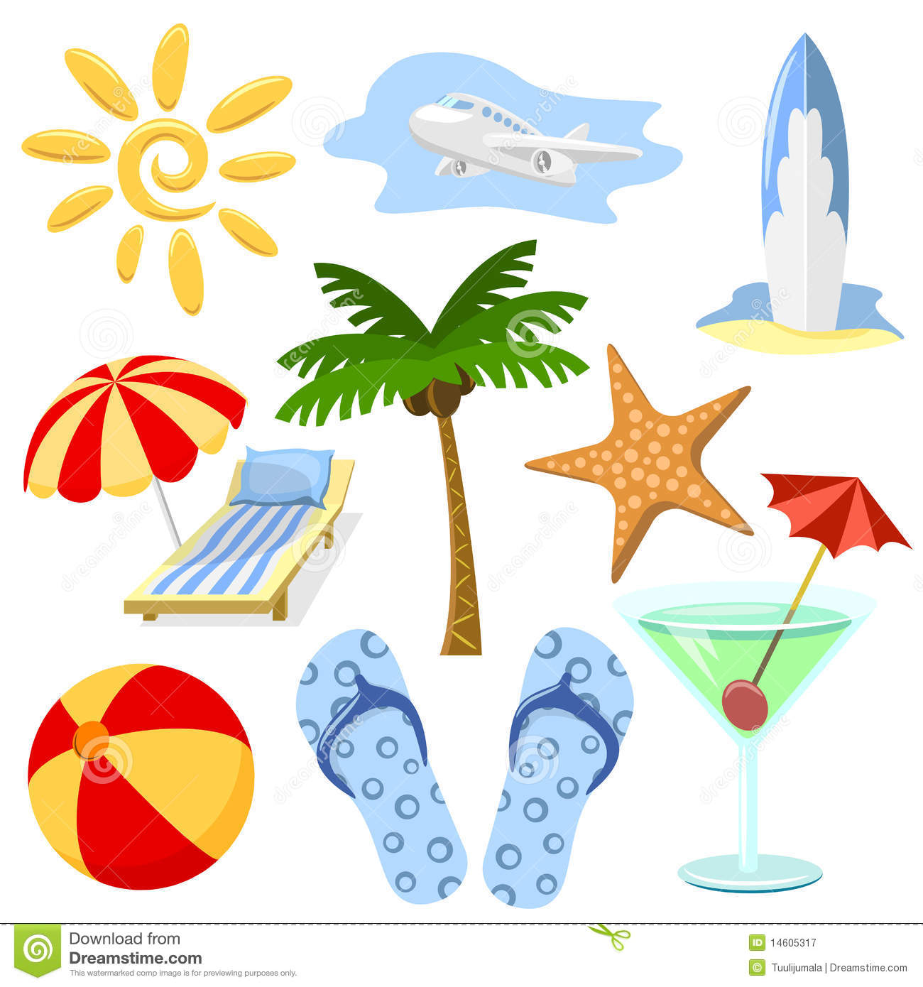 Summer And Travel Symbols Stock Vector Image Of Palm