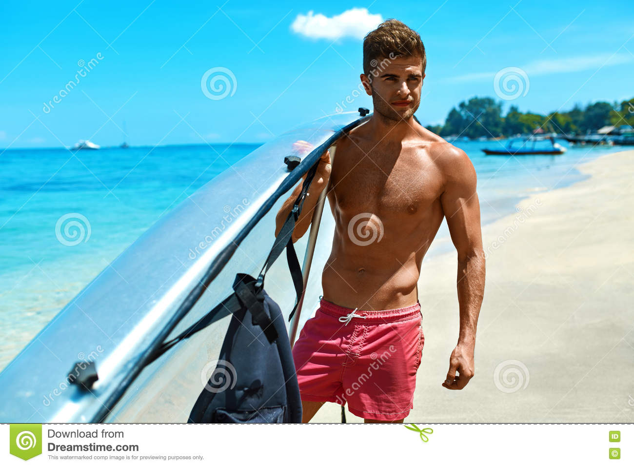 Transparent Canoe Kayak Summer Travel Water Sport Man Holding Canoe Kayak On Beach Stock
