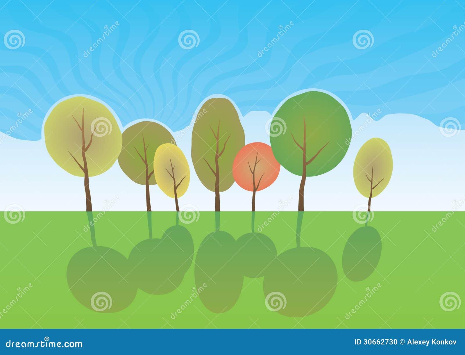 summer trees in park  vector cartoon landscape  stock