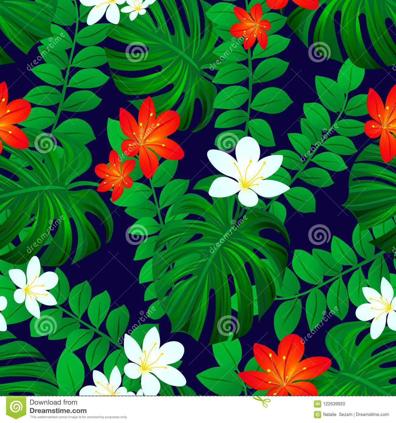 Summer Tropic Background Tropical Seamless Pattern Exotic Leaves