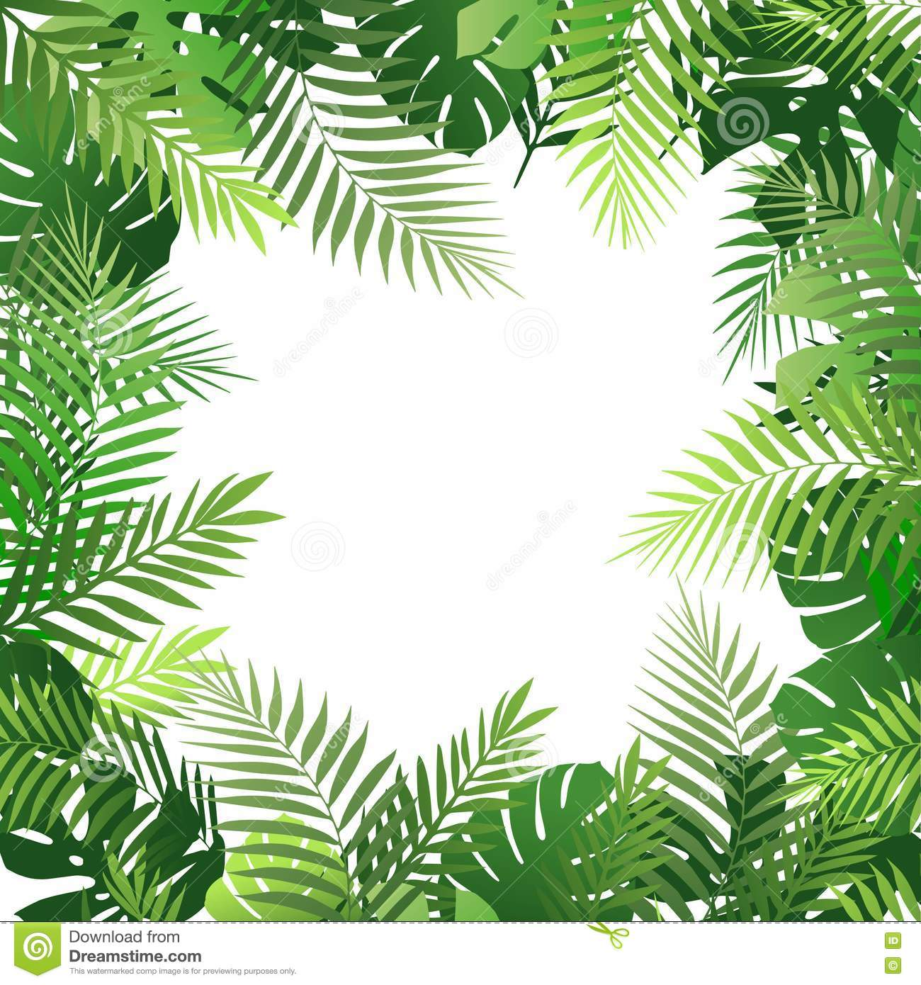 Summer Tropical Background With Palm Leaves. Exotic Wallpaper, Card, Poster, Placard, Frame ...