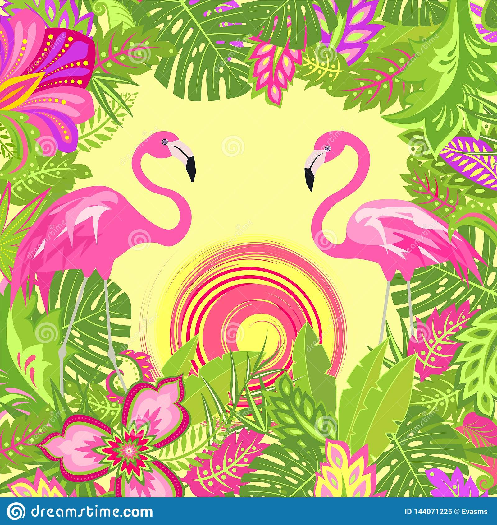 Summer Tropical Floral Background With Exotic Leaves And Flowers