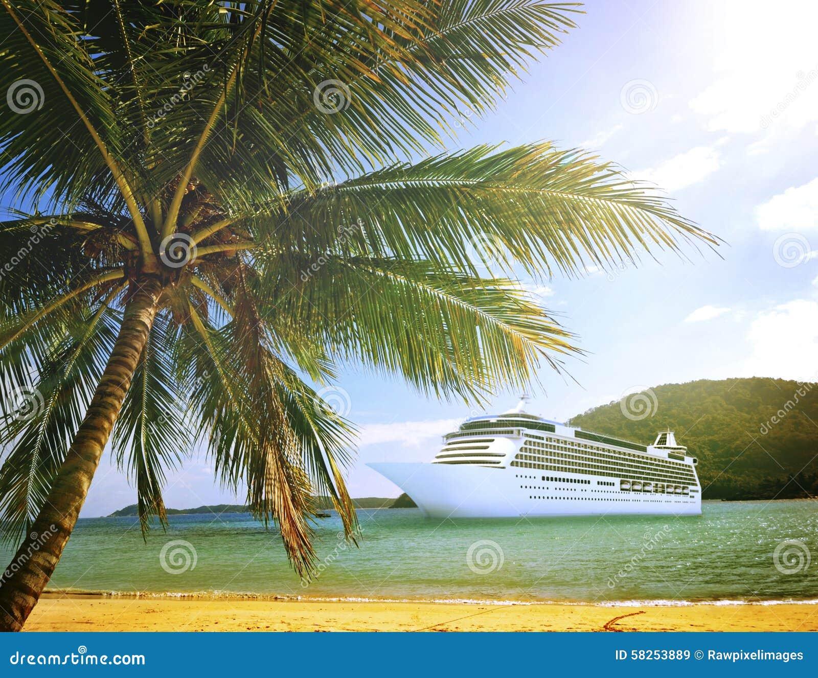 Tropical Island Beaches: Summer Tropical Island Beach Cruise Ship Concept Stock