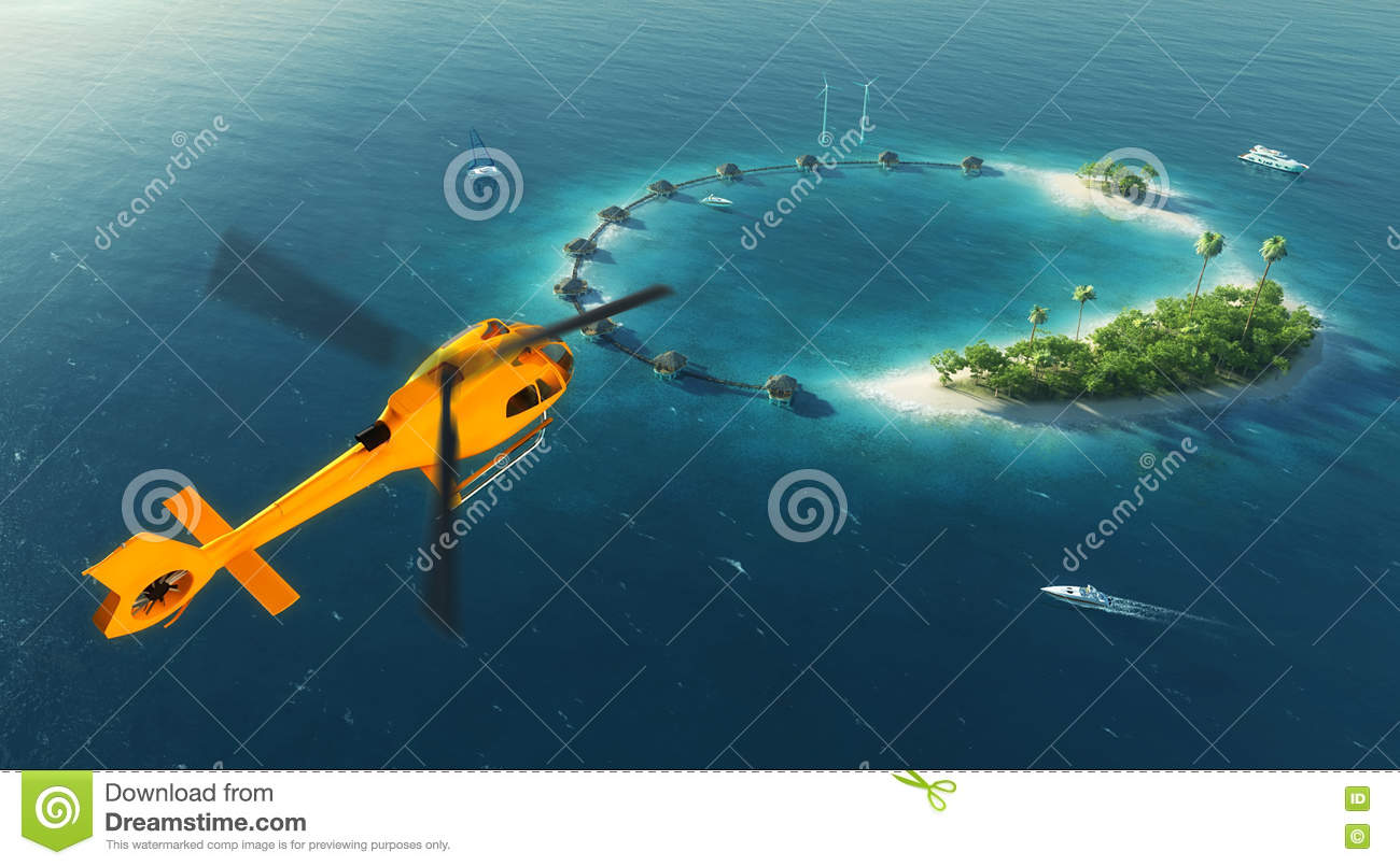 Summer tropical island. Small helicopter flying to private paradise tropical island with wind turbines energy and bungalows