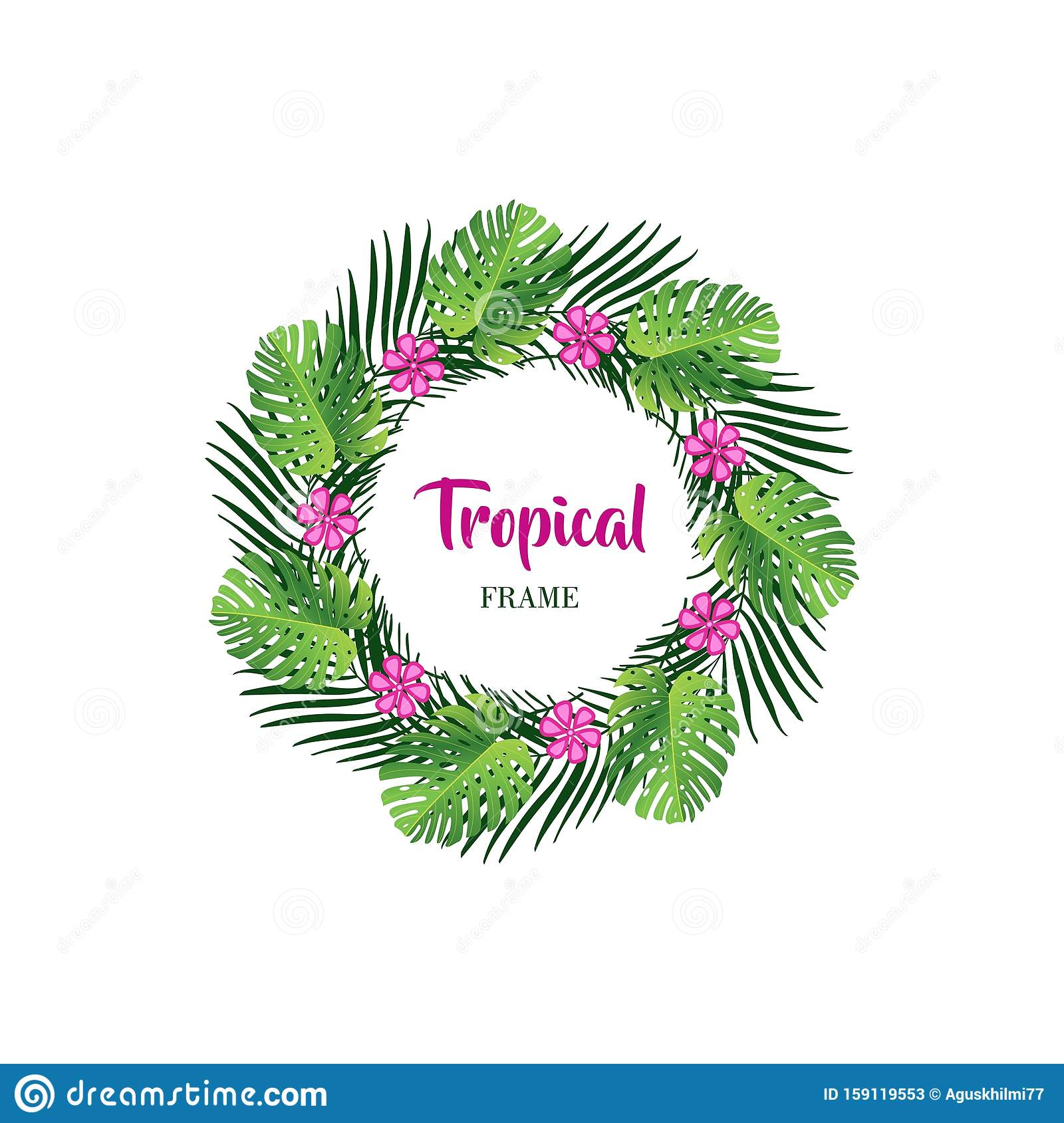 Summer tropical leaf background with exotic palm leaves