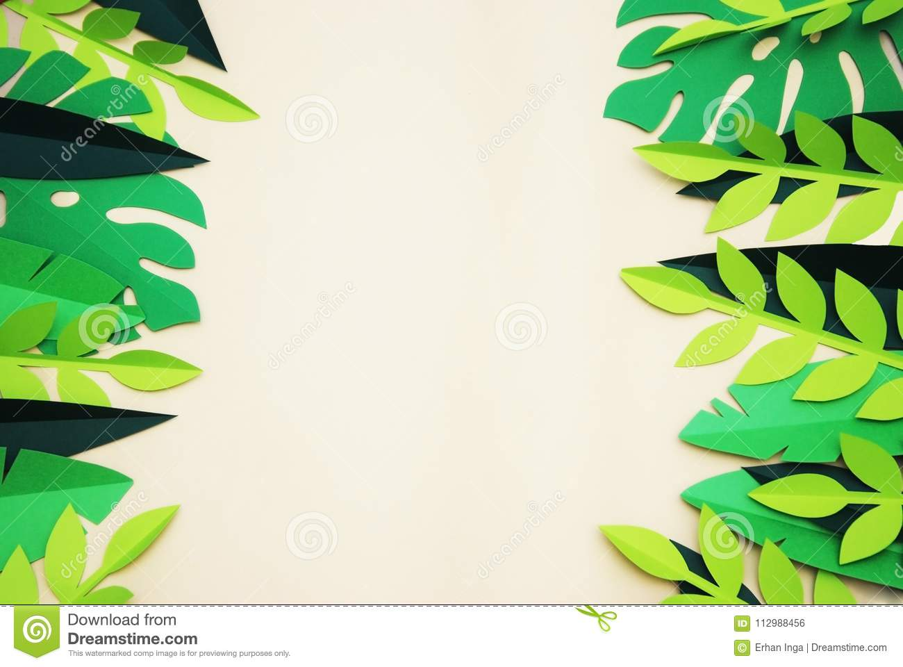 Summer Tropical Paper Cut leaves, Frame. Exotic summertime. Space for text. Beautiful dark green jungle floral background. Monster
