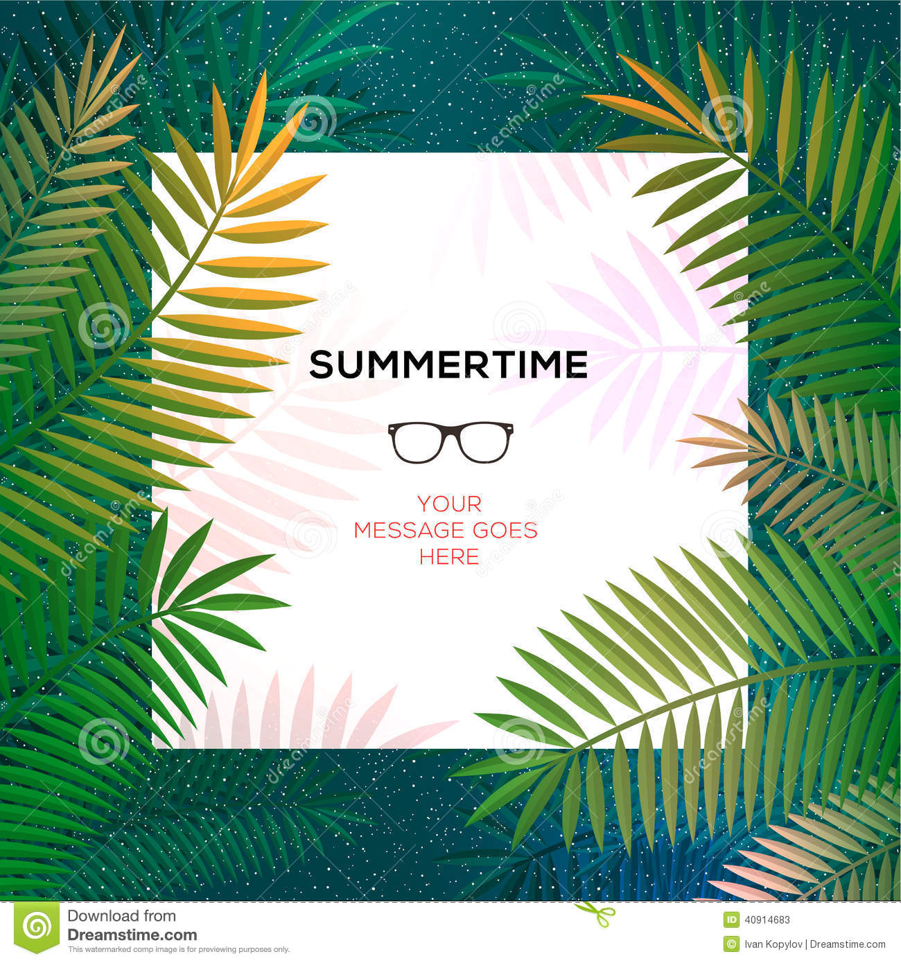 Summer Tropical Template With Palm Leaves Stock Vector