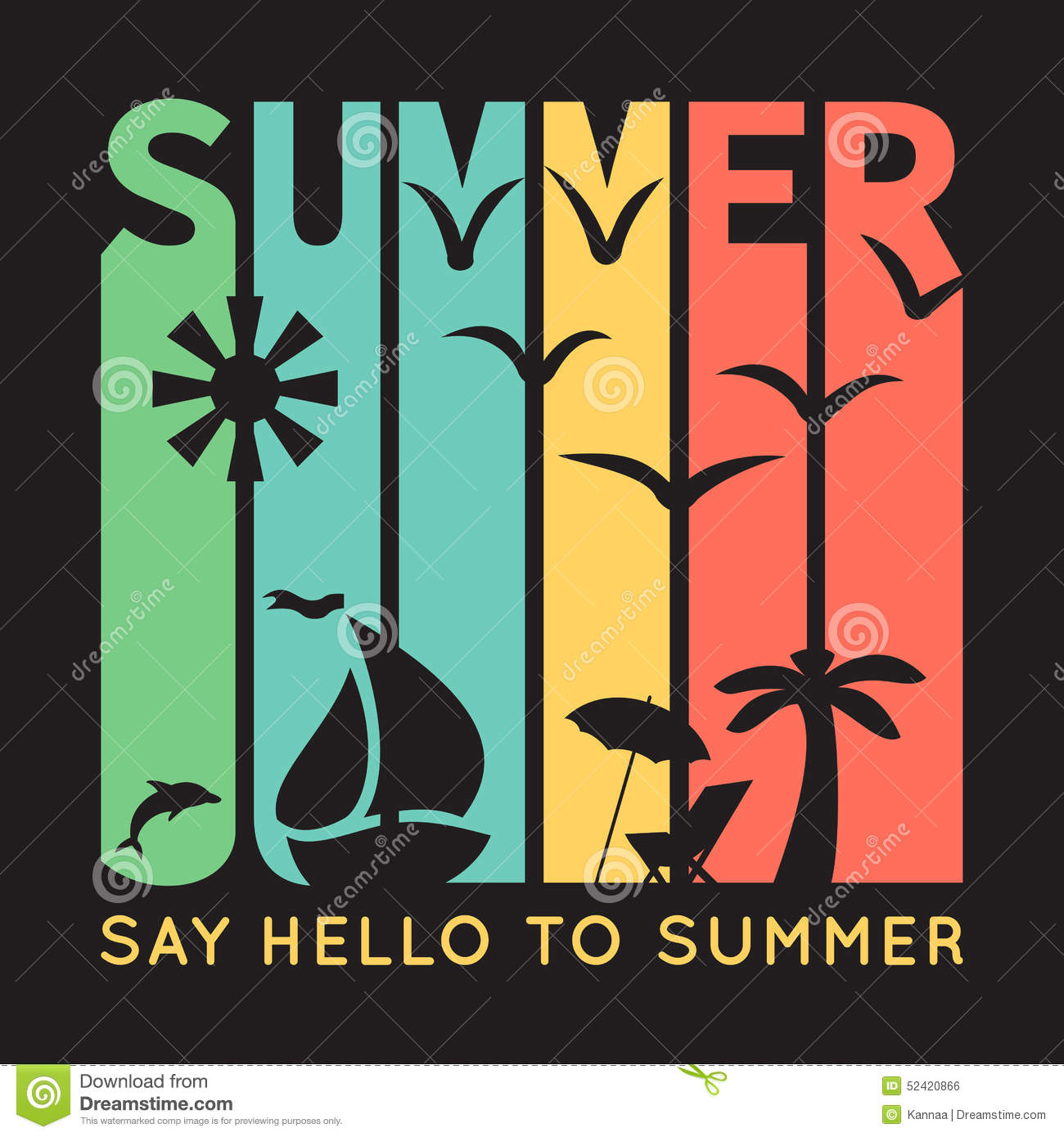 0e89c9614fbd Royalty-Free Vector. Summer typography with beach icons