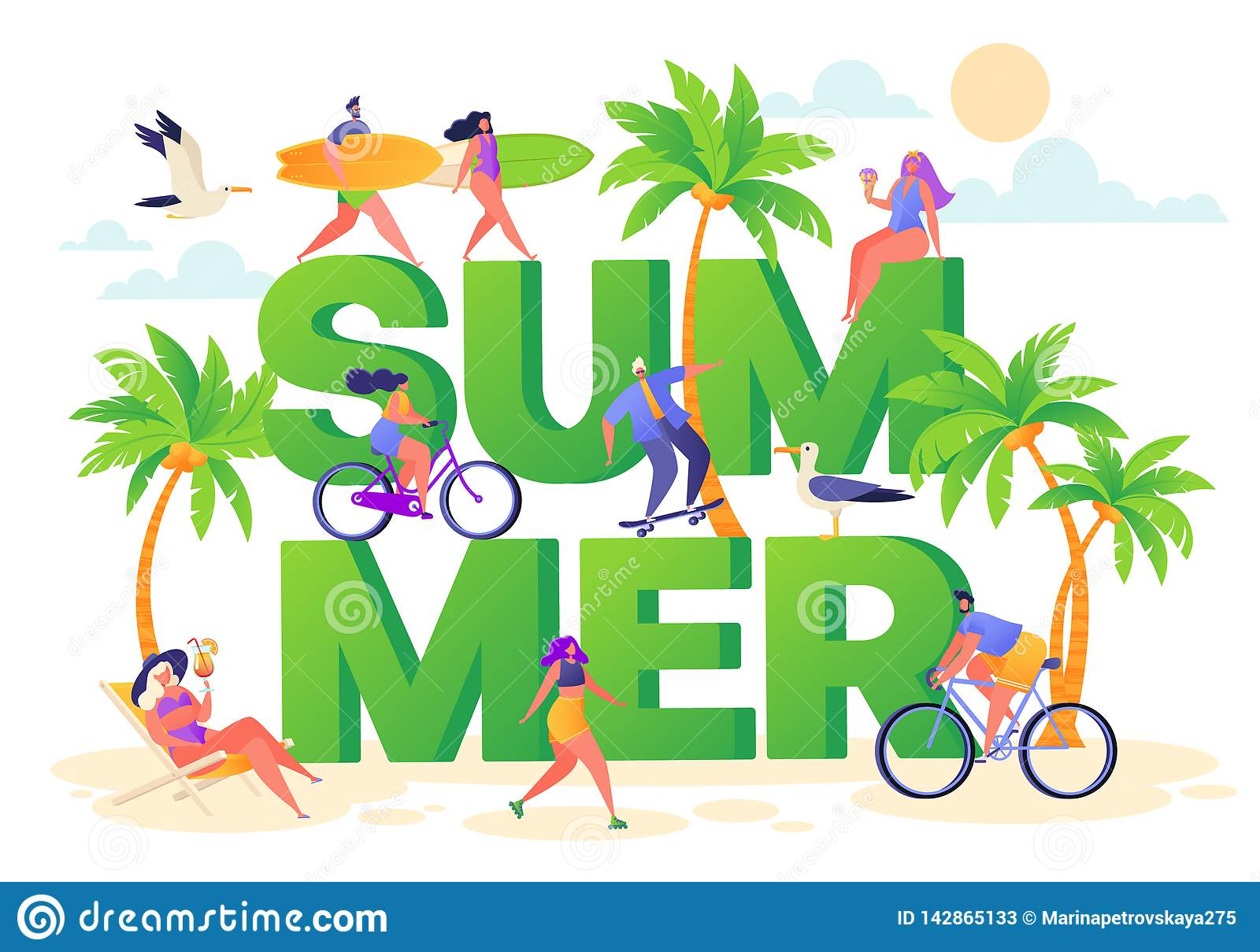 Banner on summer vacation theme. Outdoor activity and rest on the beach.