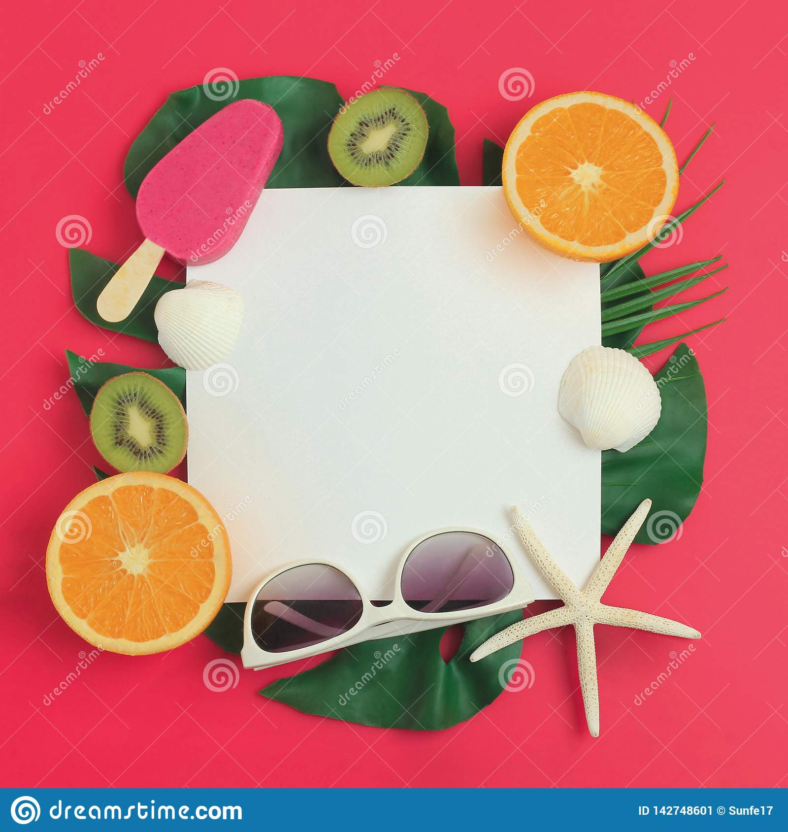 Summer vacation background with ice cream, palm leaves, fruits, sunglasses and seashells