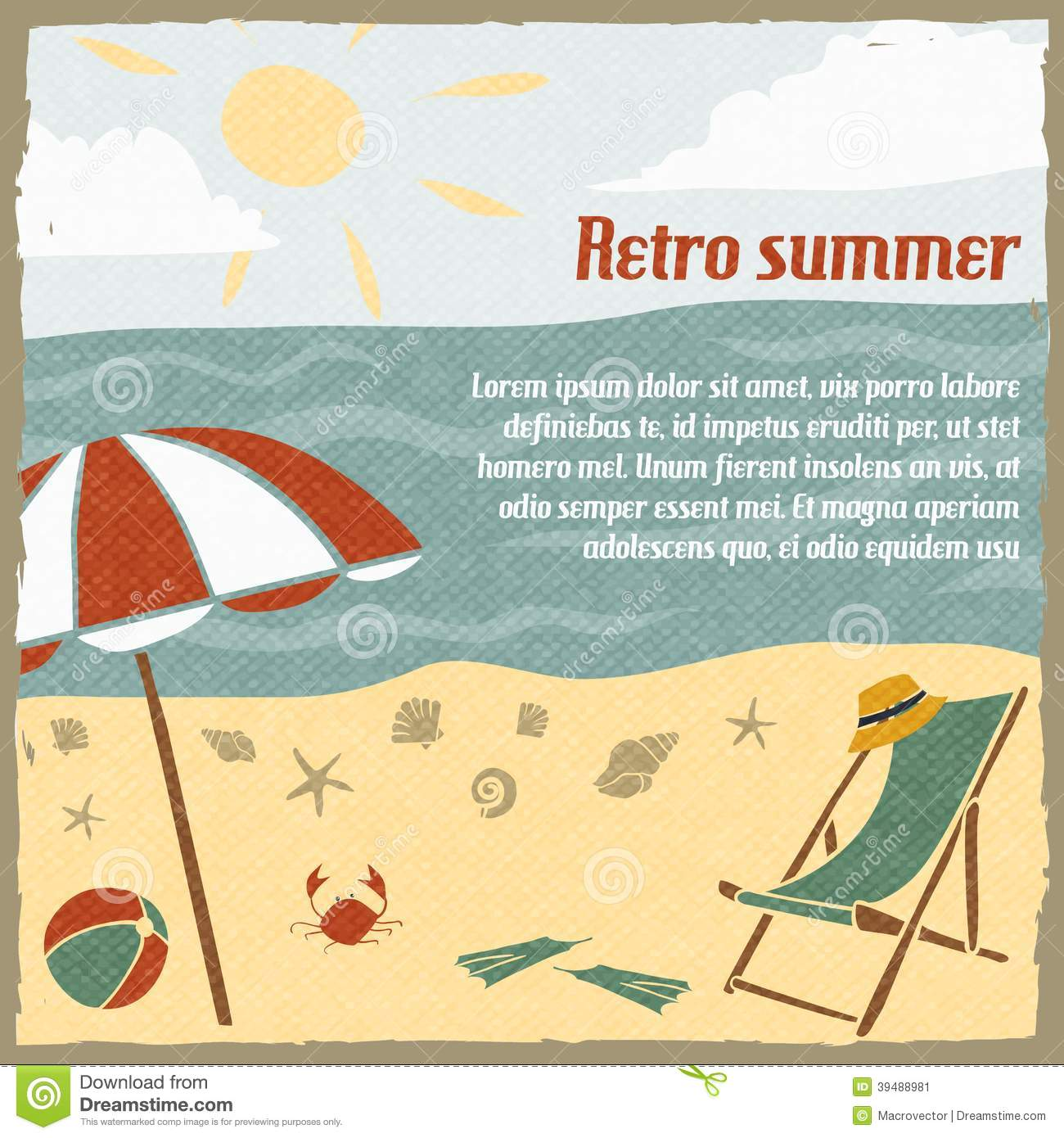 Summer Vacation Background Retro Stock Vector - Image ...
