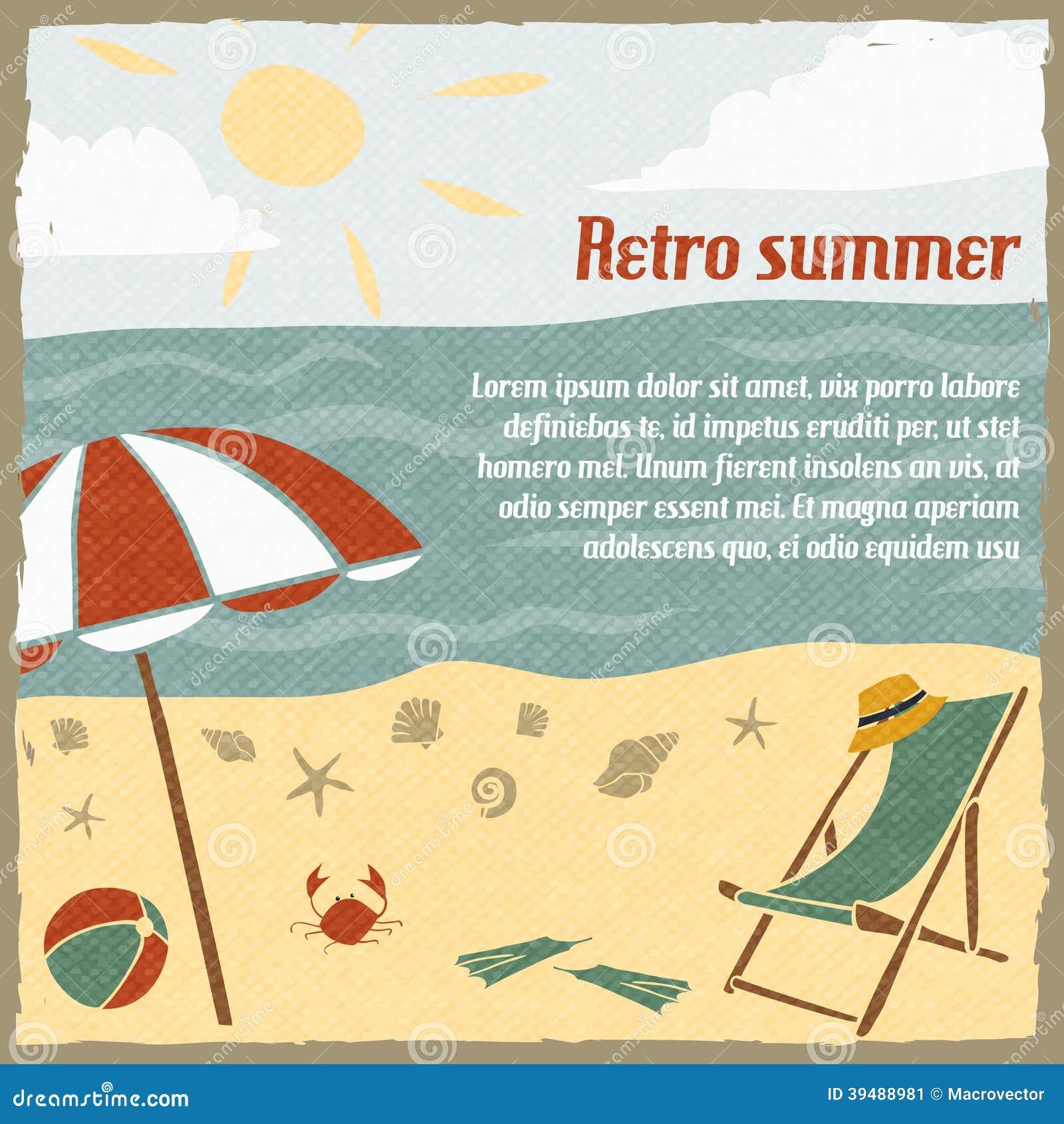 Retro Beach Illustration Royalty Free Stock Photo: Summer Vacation Background Retro Stock Vector