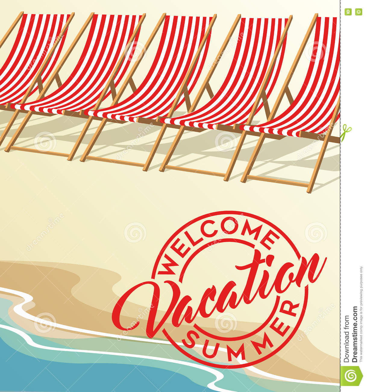 Summer Vacation Beach And Vintage Beach Chairs Stock Vector Illustration Of Vector Summer 71780840