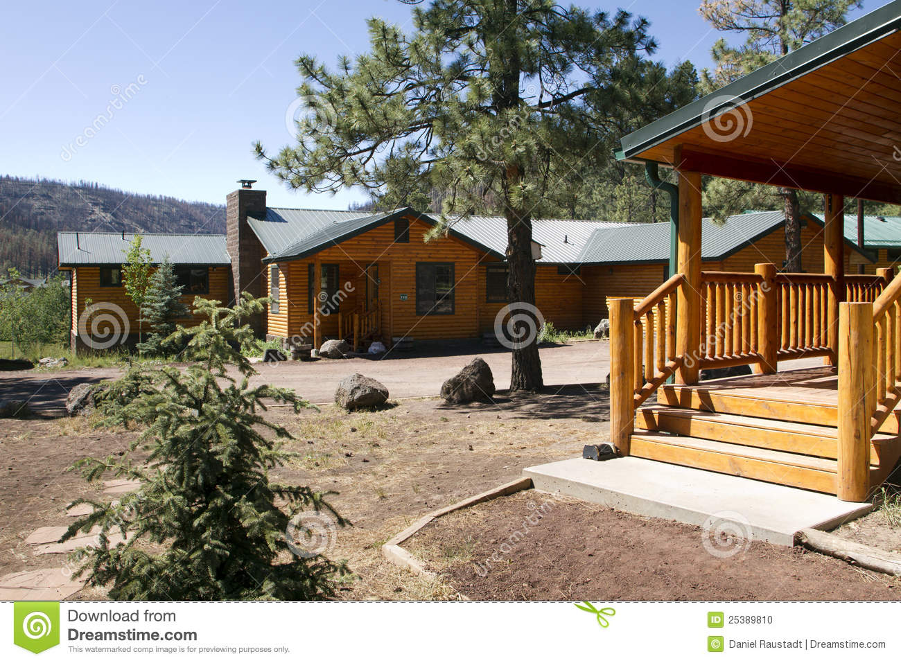 Summer vacation cabin in the mountain woods stock photo for Vacation log homes