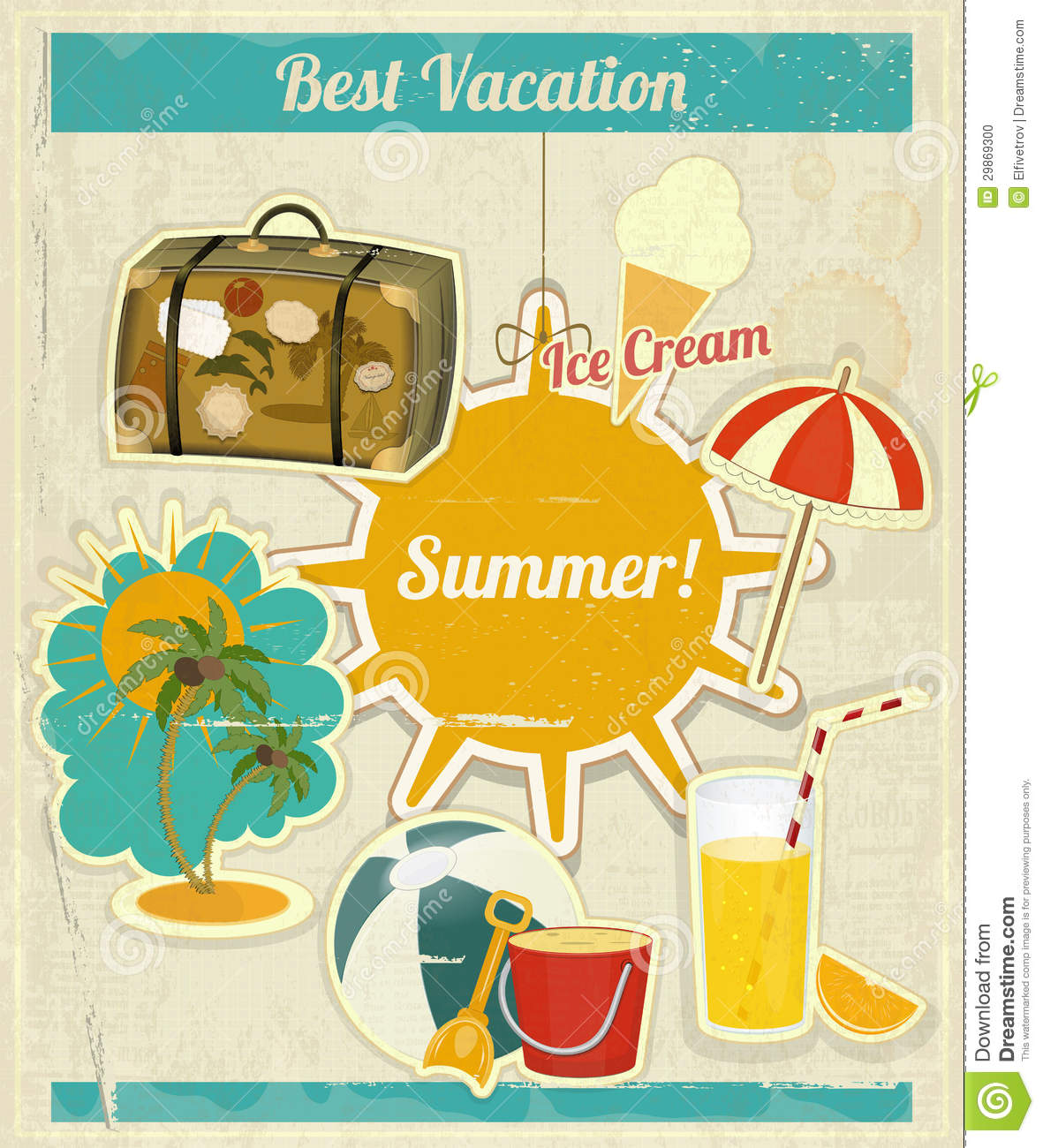 Summer travel card in retro style vintage vacation postcard with - Summer Vacation Card In Vintage Retro Style Stock Photo