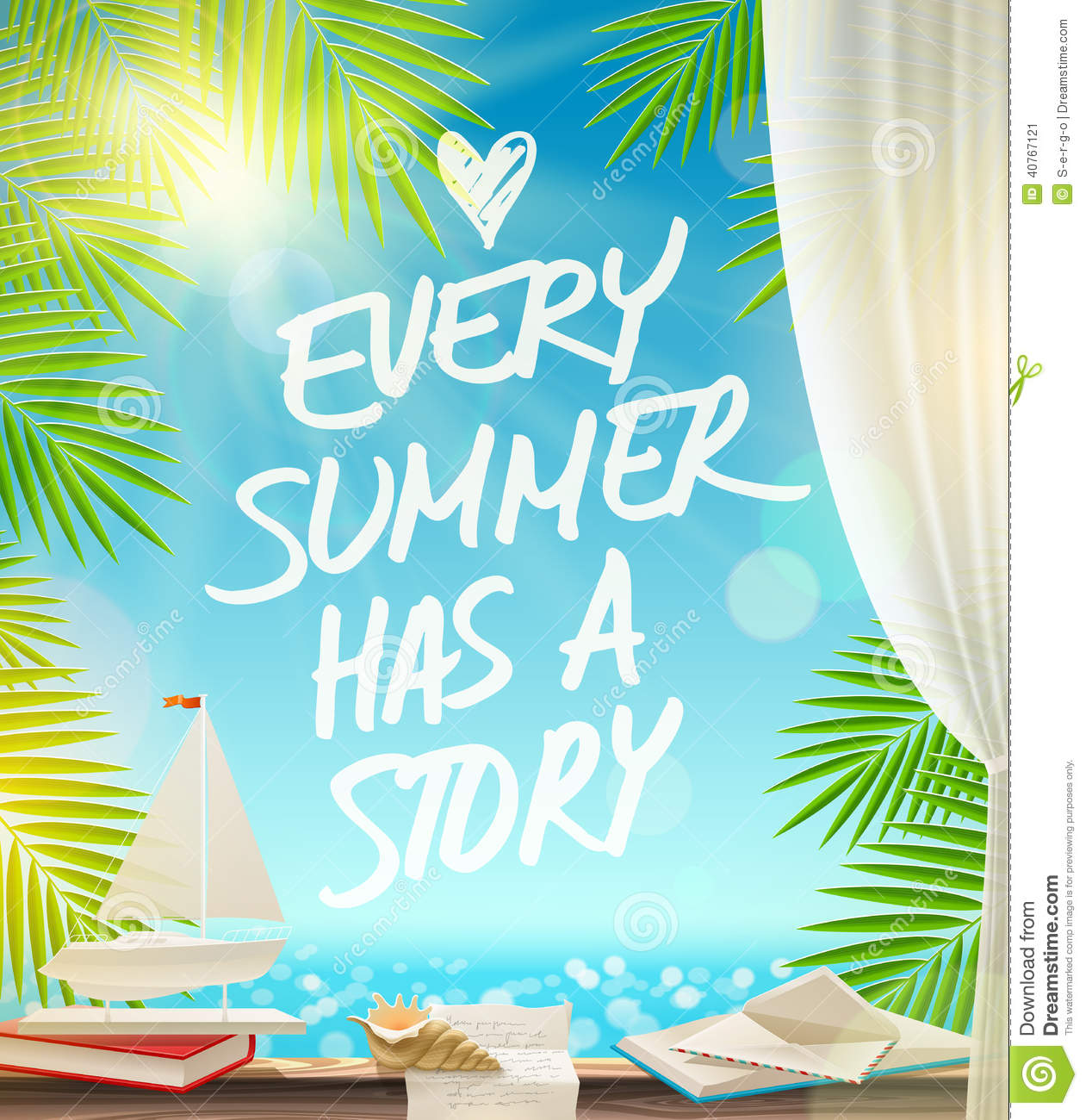 Summer Vacation Design With Hand Drawn Quote Stock Vector