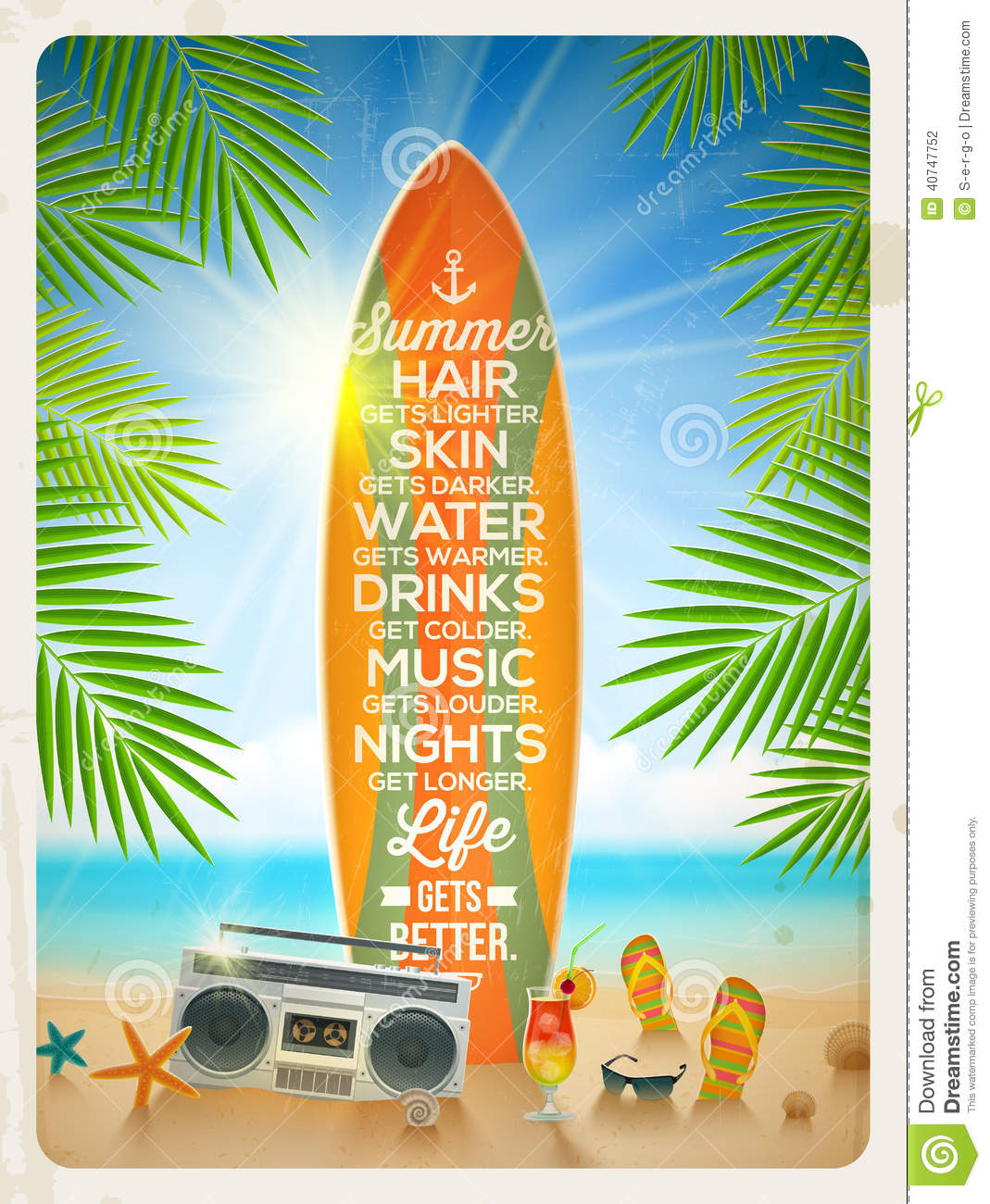 Summer Vacation Design With Quote Illustration 40747752 Megapixl