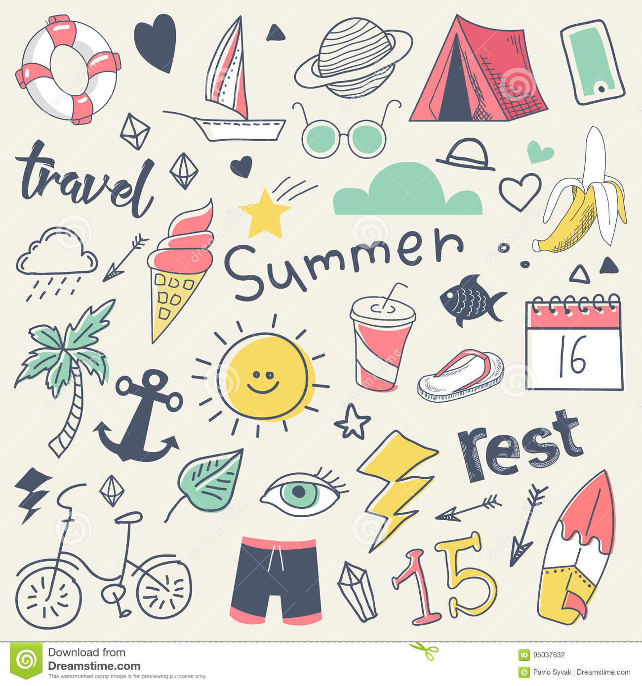 Summer Vacation Freehand Hand Drawn Doodle with Sun, Surf and Camp