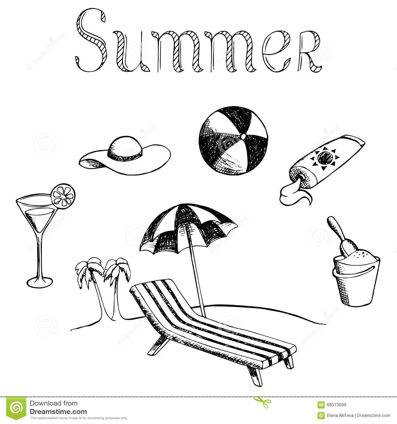 Download Summer Vacation Graphic Art Black White Isolated Illustration Stock Vector