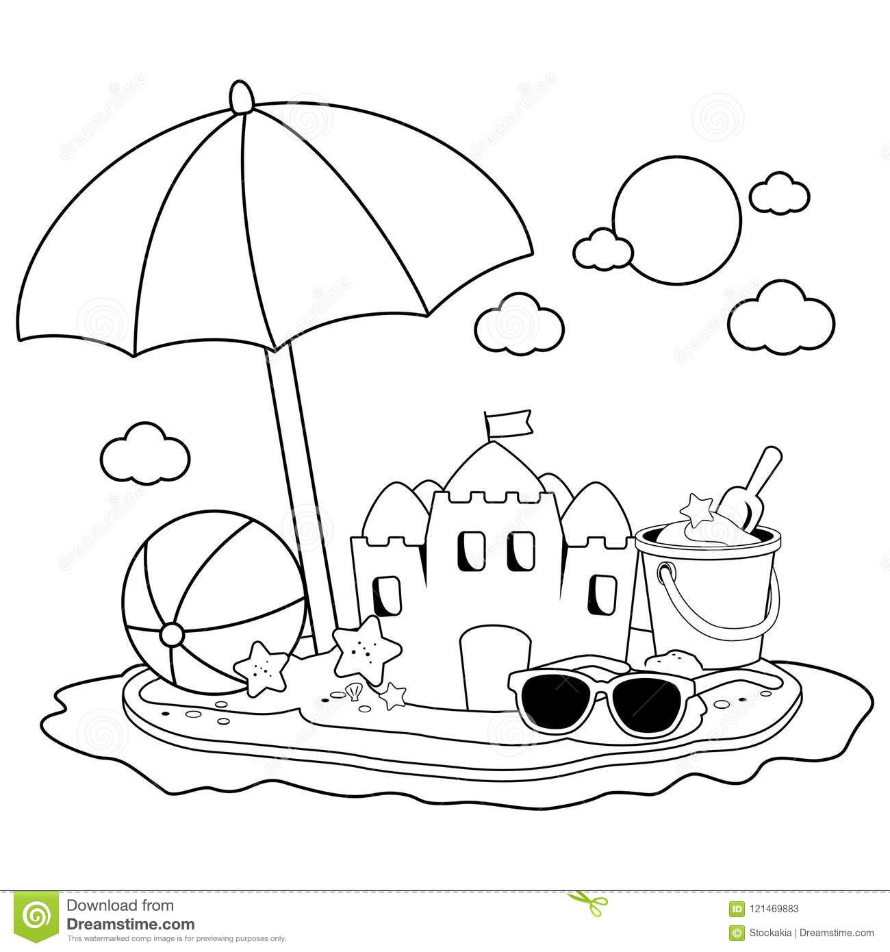 Summer Vacation Island With Beach Umbrella, A Sandcastle And Other
