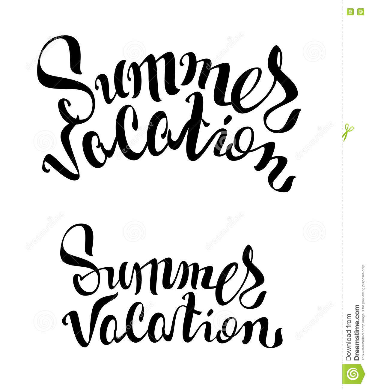 Summer Vacation Lettering Text Isolated On White Vector Illustration