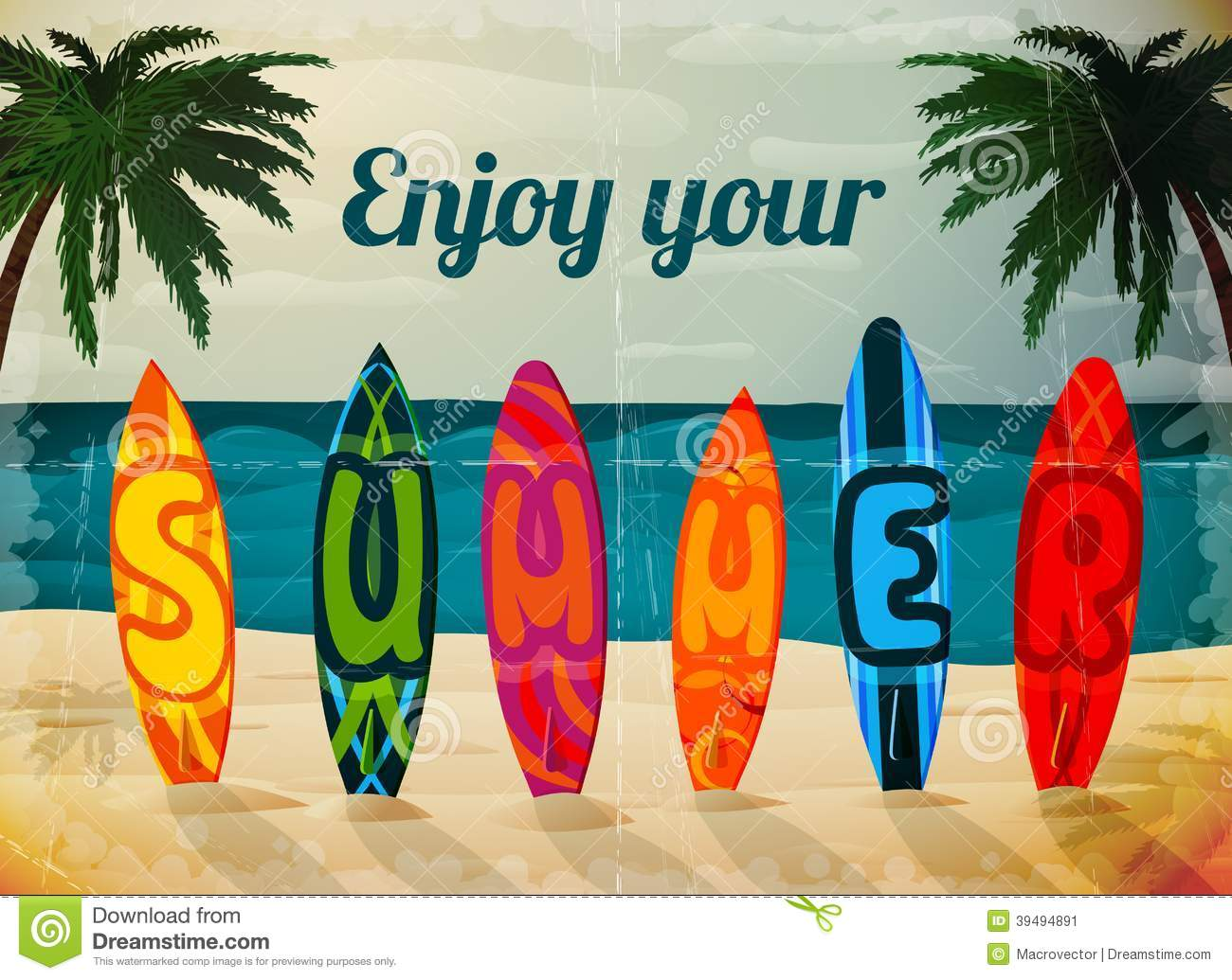 Enjoy Tropical Summer Holidays Backgrounds Vector 04 Free: Summer Vacation Poster Cartoon Vector