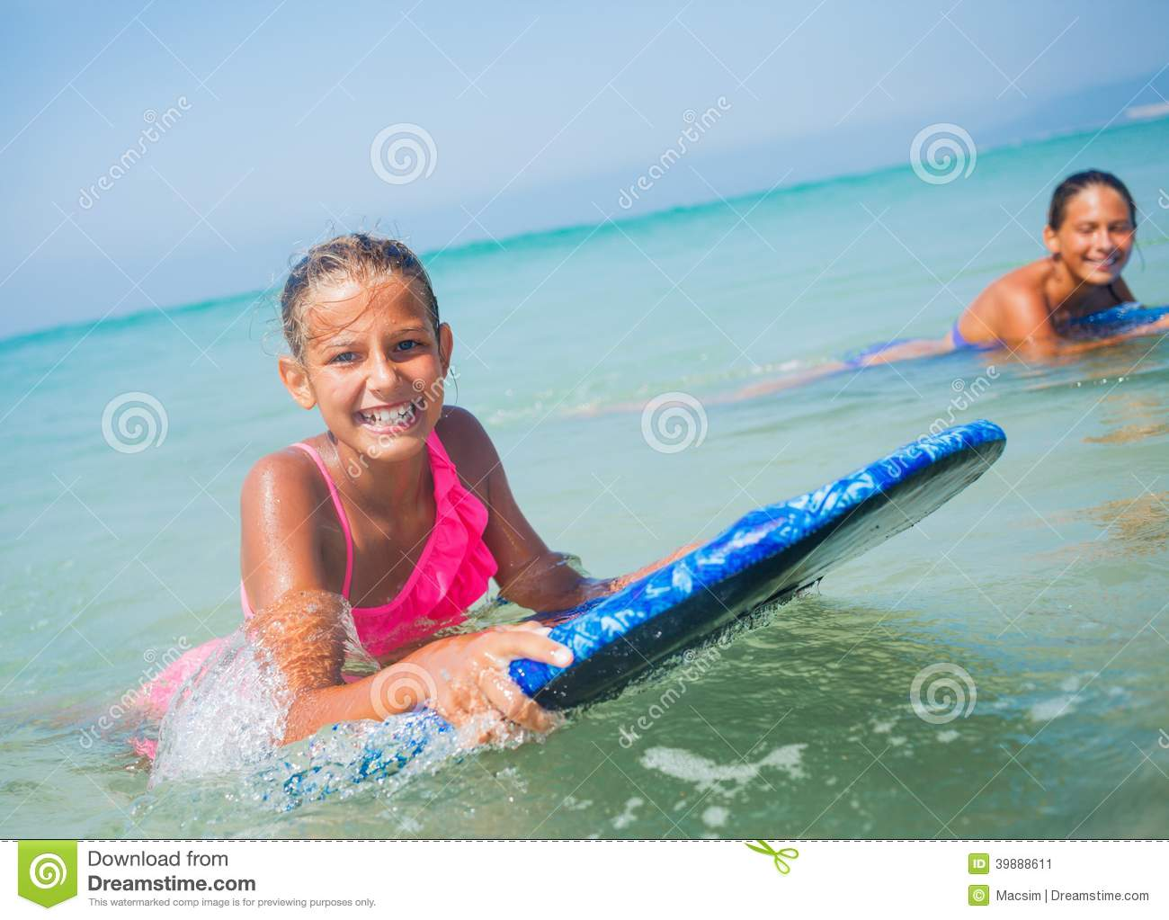 Cute black girl and surfer girls