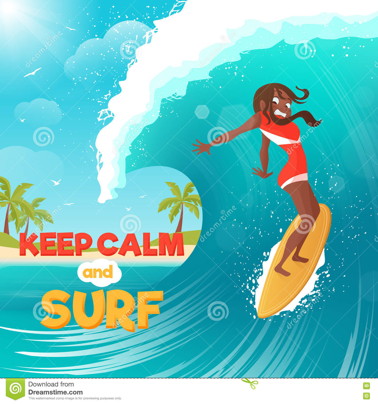 Summer Vacation Surfing Flat Colorful Poster Stock Vector