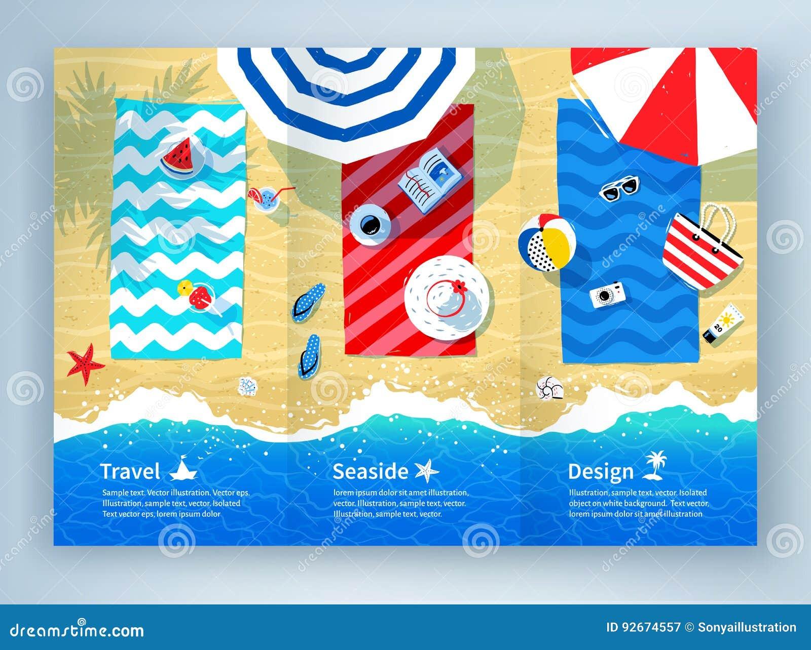 summer vacation tri fold brochure design stock vector illustration