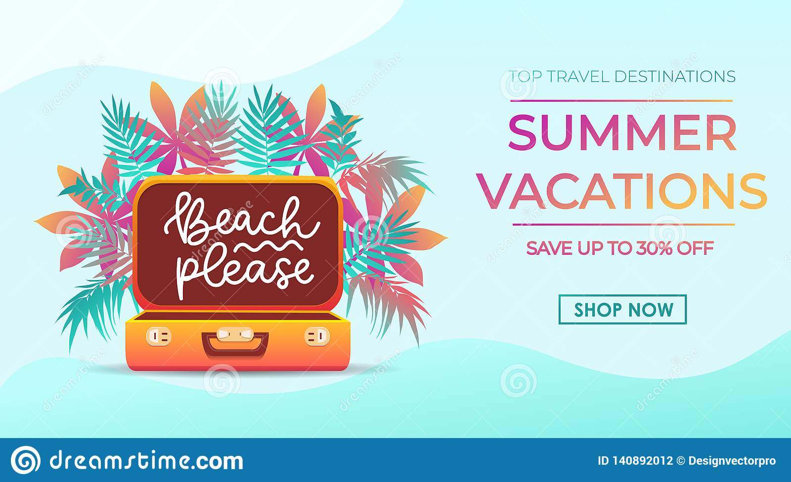 Summer Vacations Banner Design In Trendy Style For Travel Agency