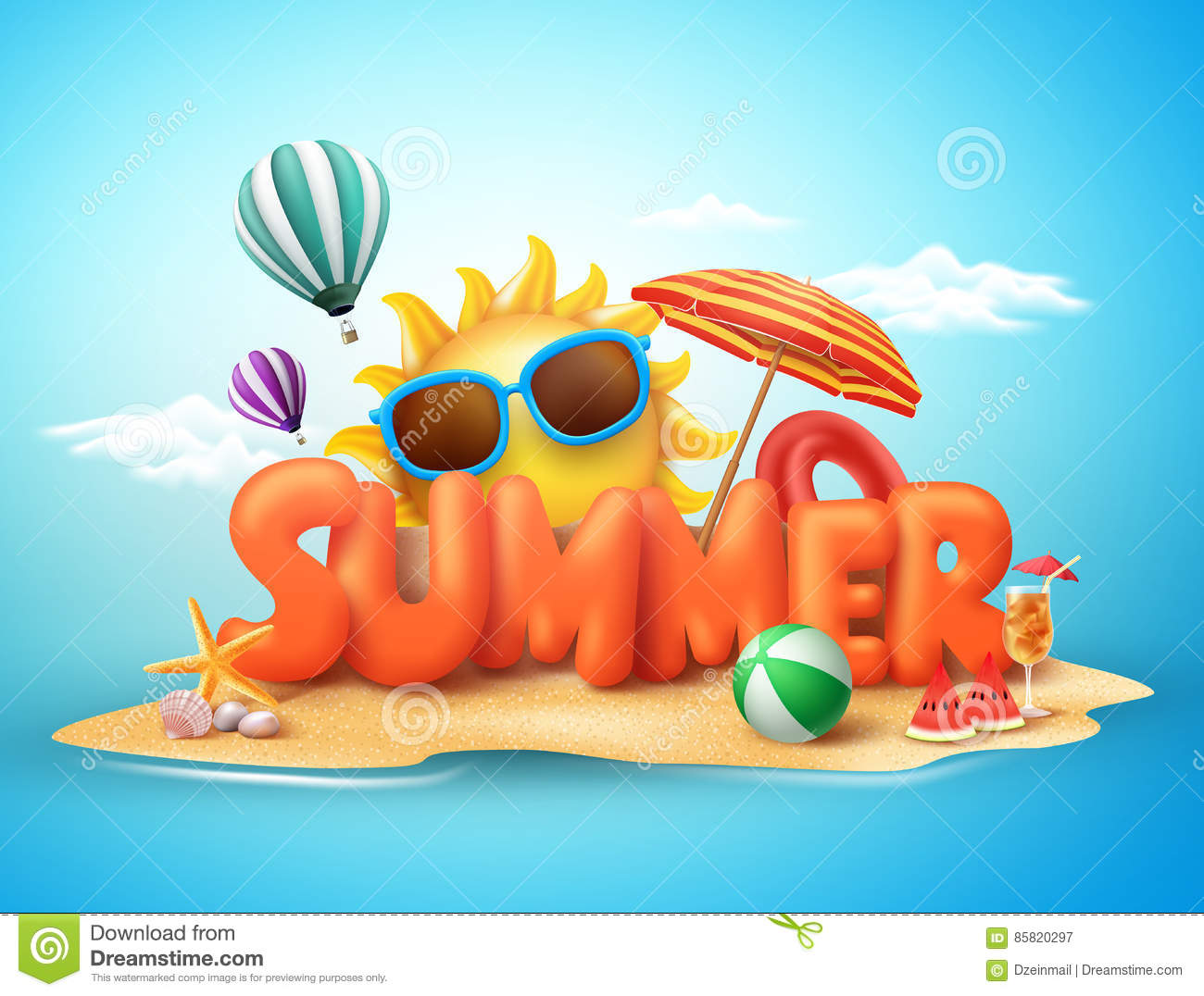 2ce6336ae56 Royalty-Free Vector. Summer vector banner design concept of 3d text in  beach island