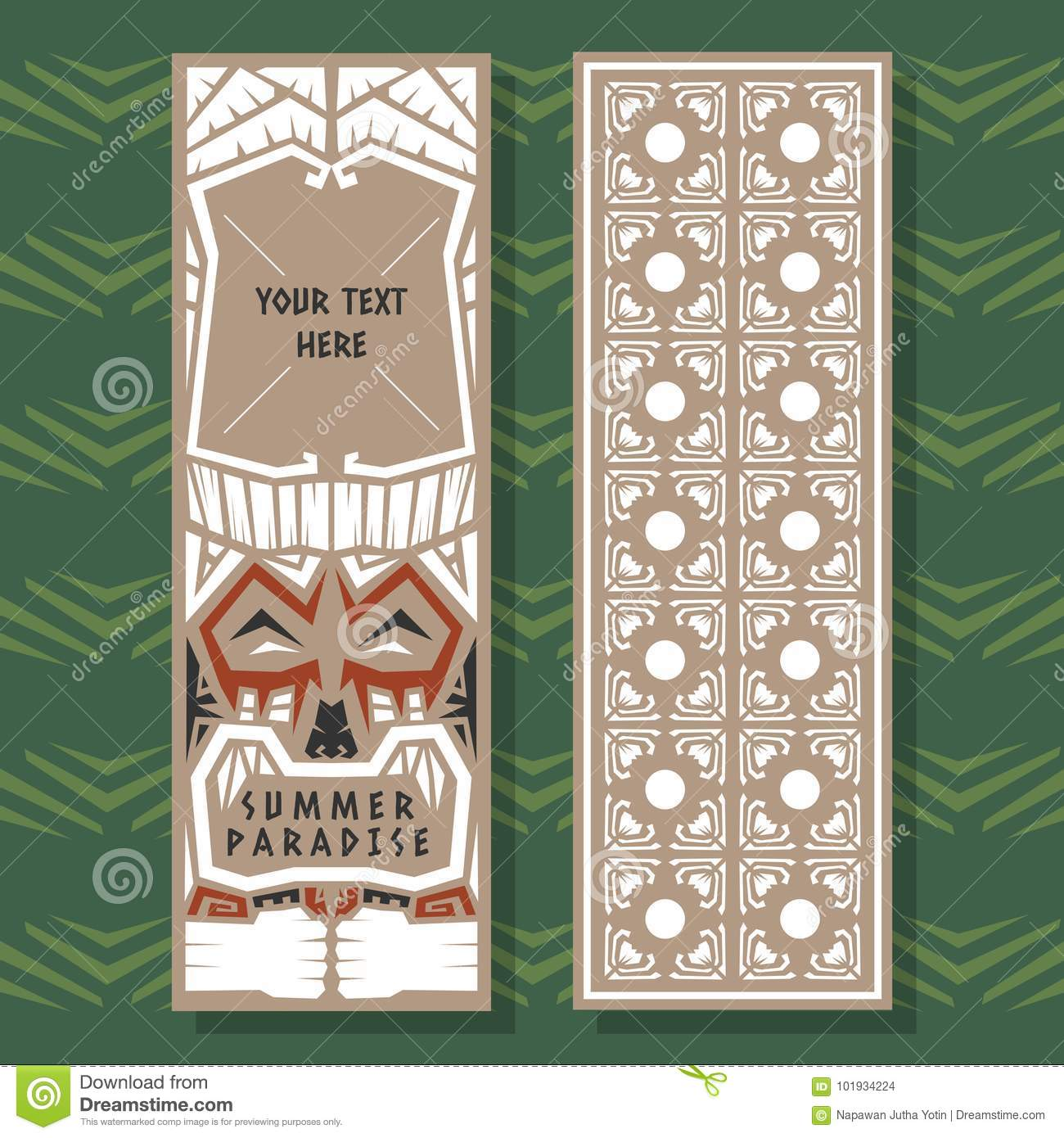 Summer Vector Banner Tribal Tiki Style   Stock Vector - Illustration