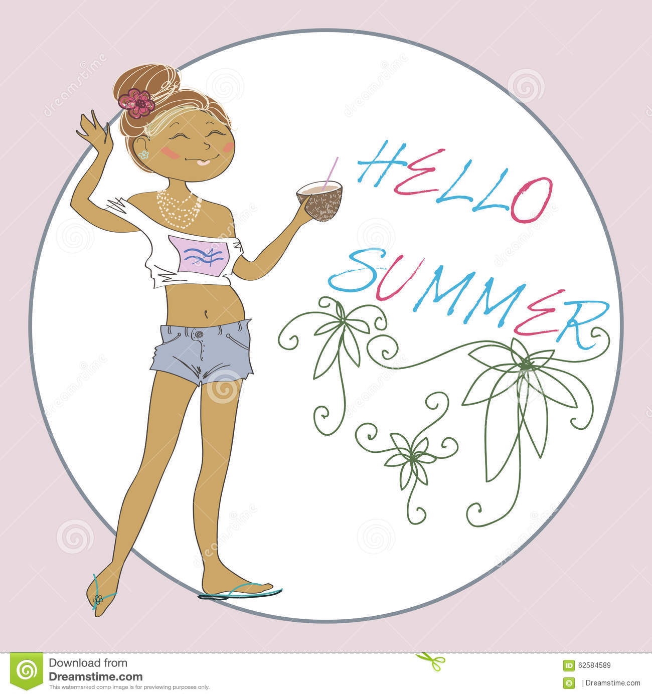 Summer Vector Greeting Card With Cute Girl. Stock Vector - Image: 62584589