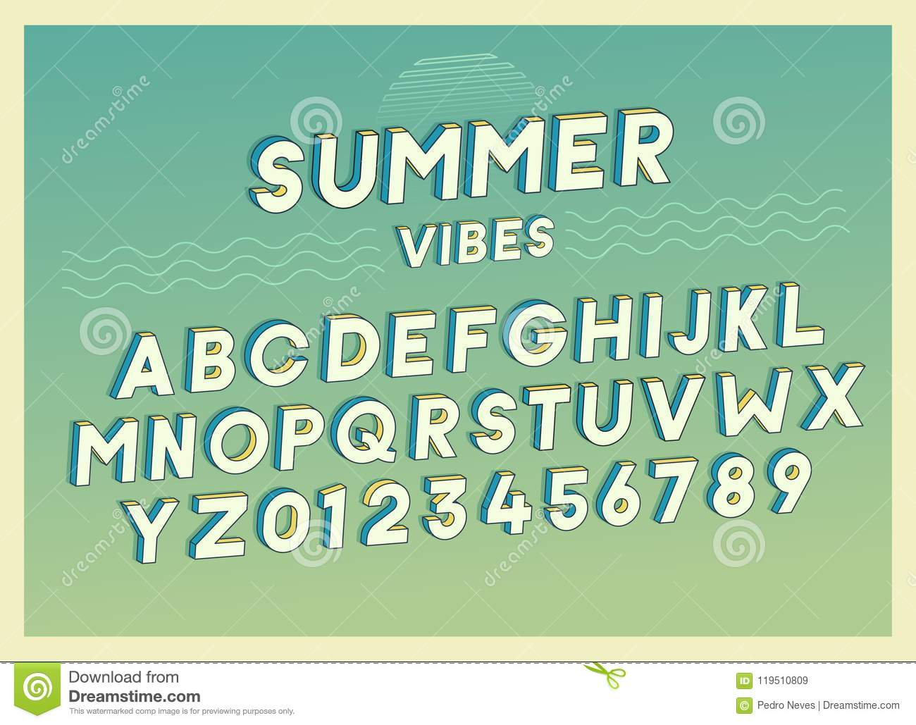 Summer Vibes Font Effect Design With Retro Colors. Vector Art ...