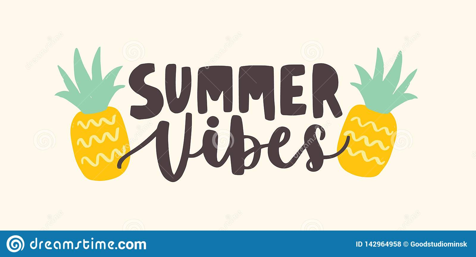 3D Printed T-Shirts Summer Vacation Phrase with Pineapple Design Element for Po