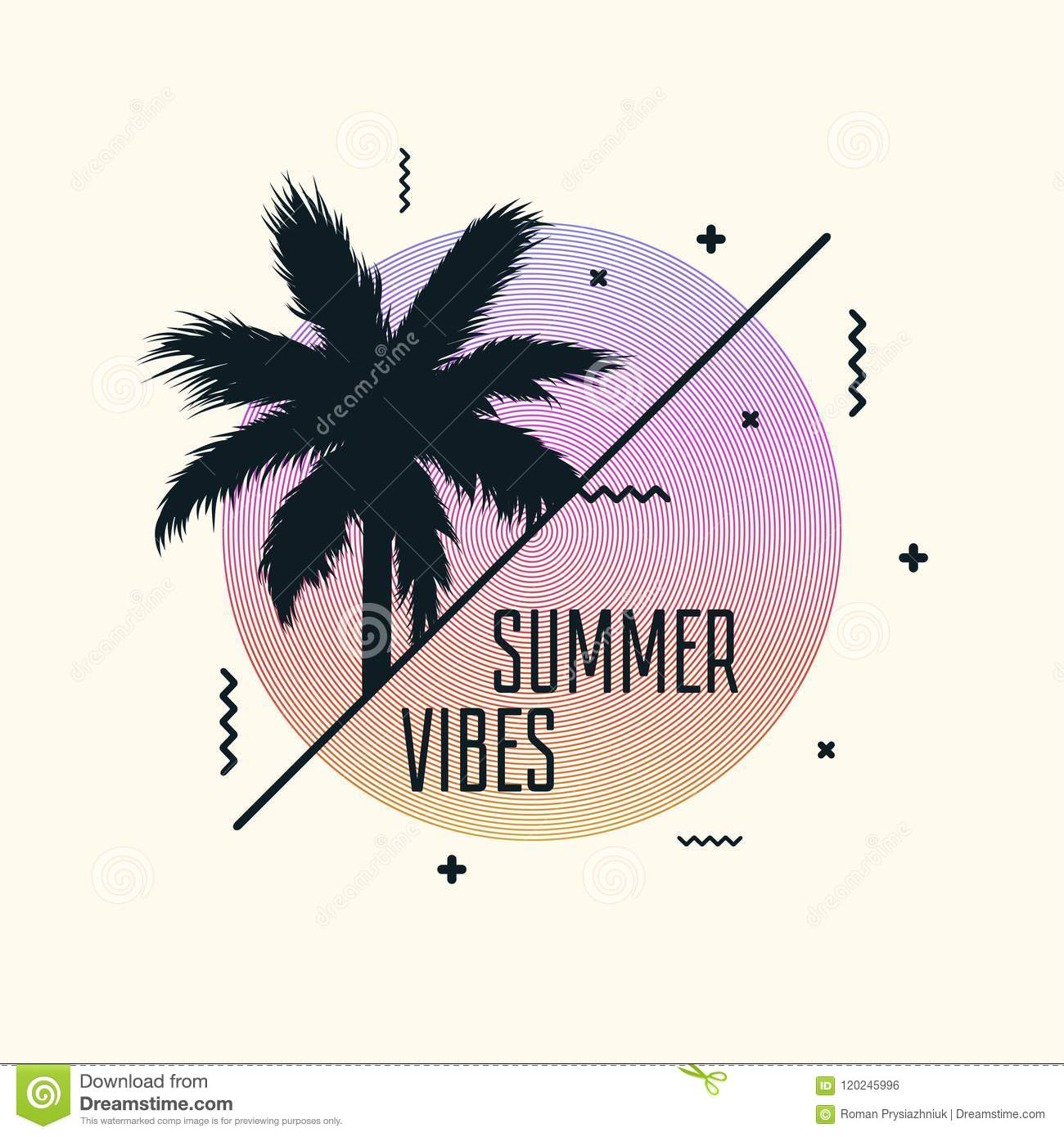 a7cdc009a064 Royalty-Free Vector. Summer vibes poster design with modern graphics and palm  tree. Trendy banner template. Vector
